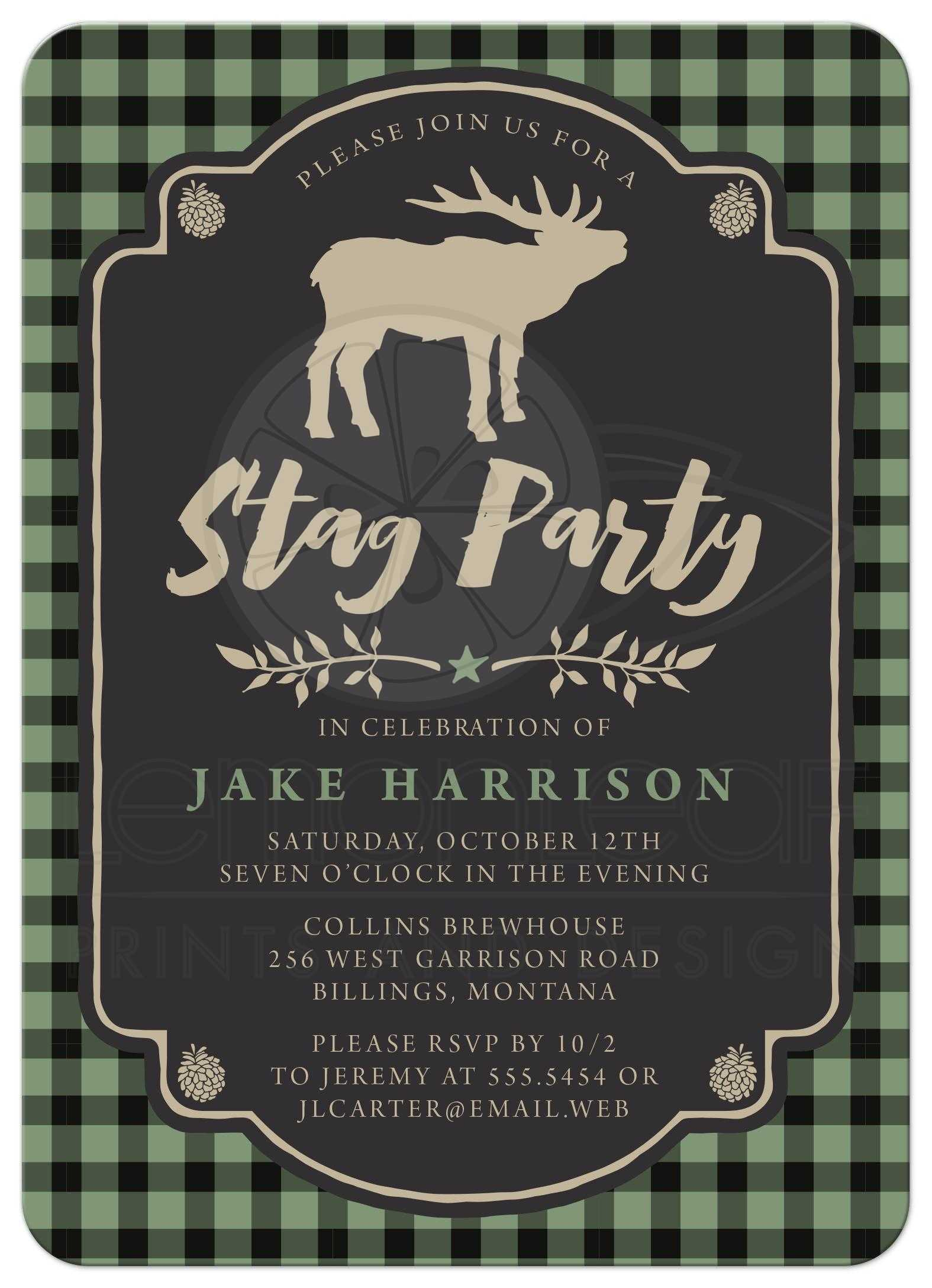 Bachelor Party Invitations - Rustic Green & Black Plaid Stag Party