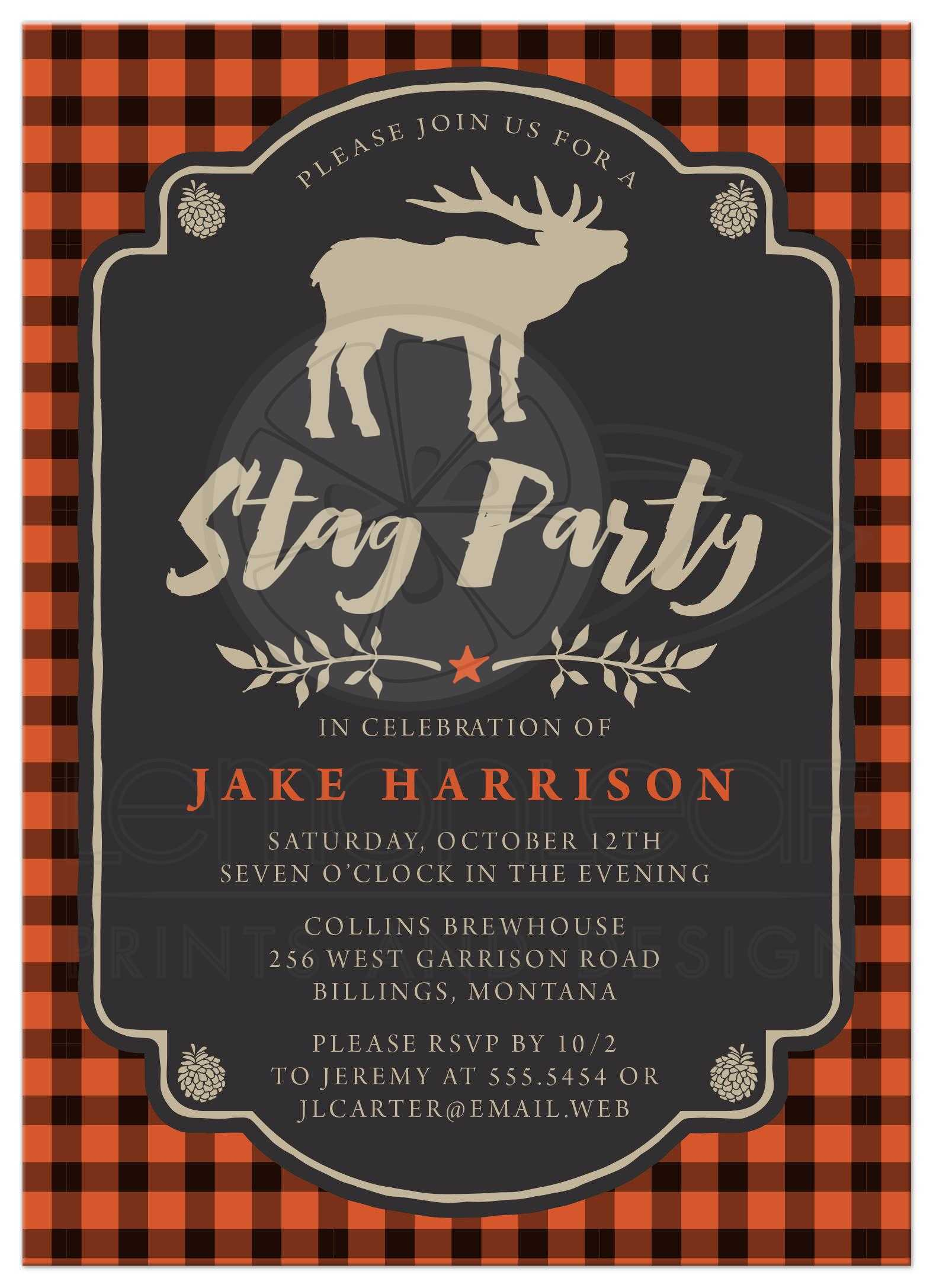 Bachelor Party Invitations - Rustic Orange & Black Plaid Stag Party
