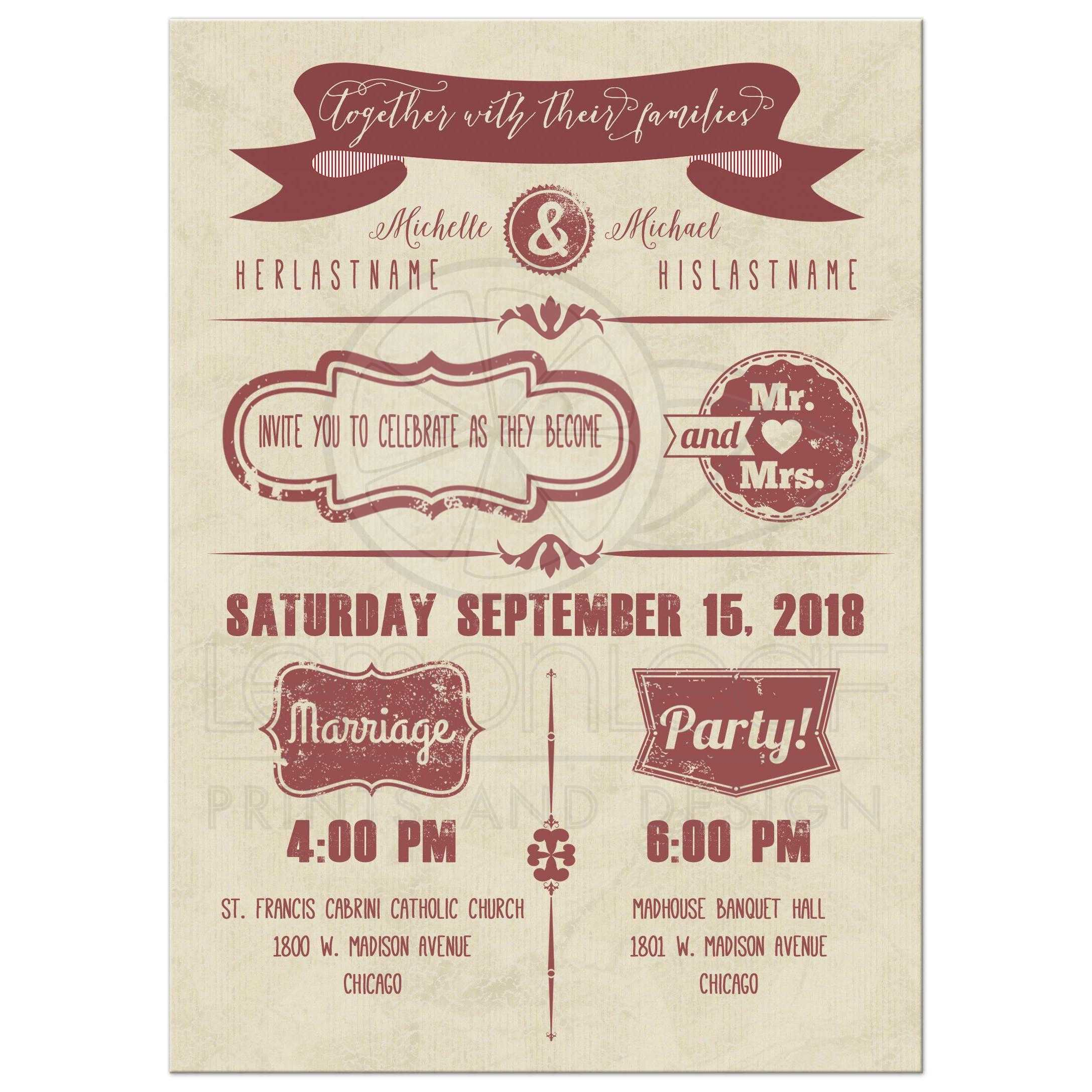 Modern Marsala Typography With Grunge Stamps Wedding Invitation