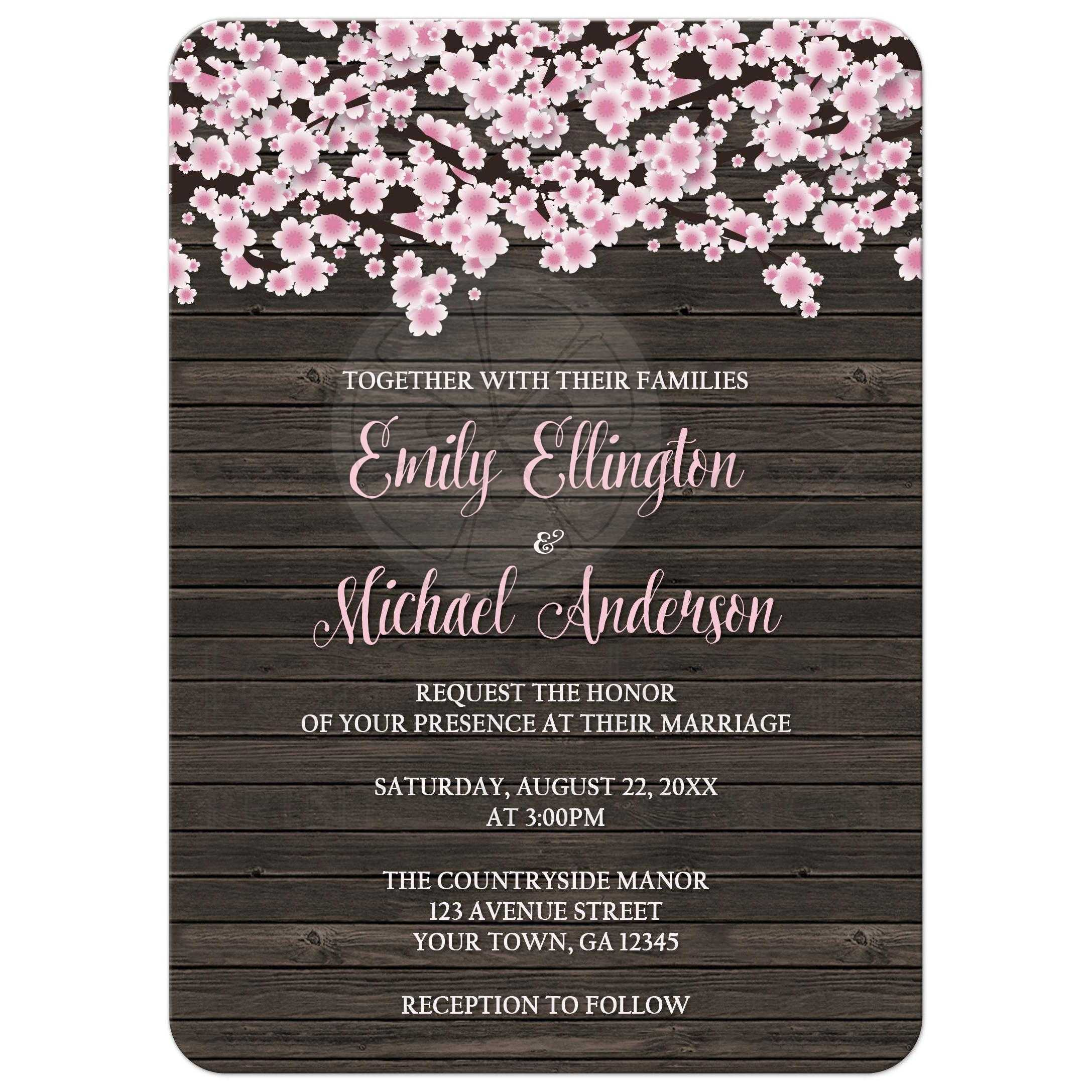 Invitations - Cherry Blossom Rustic Wood