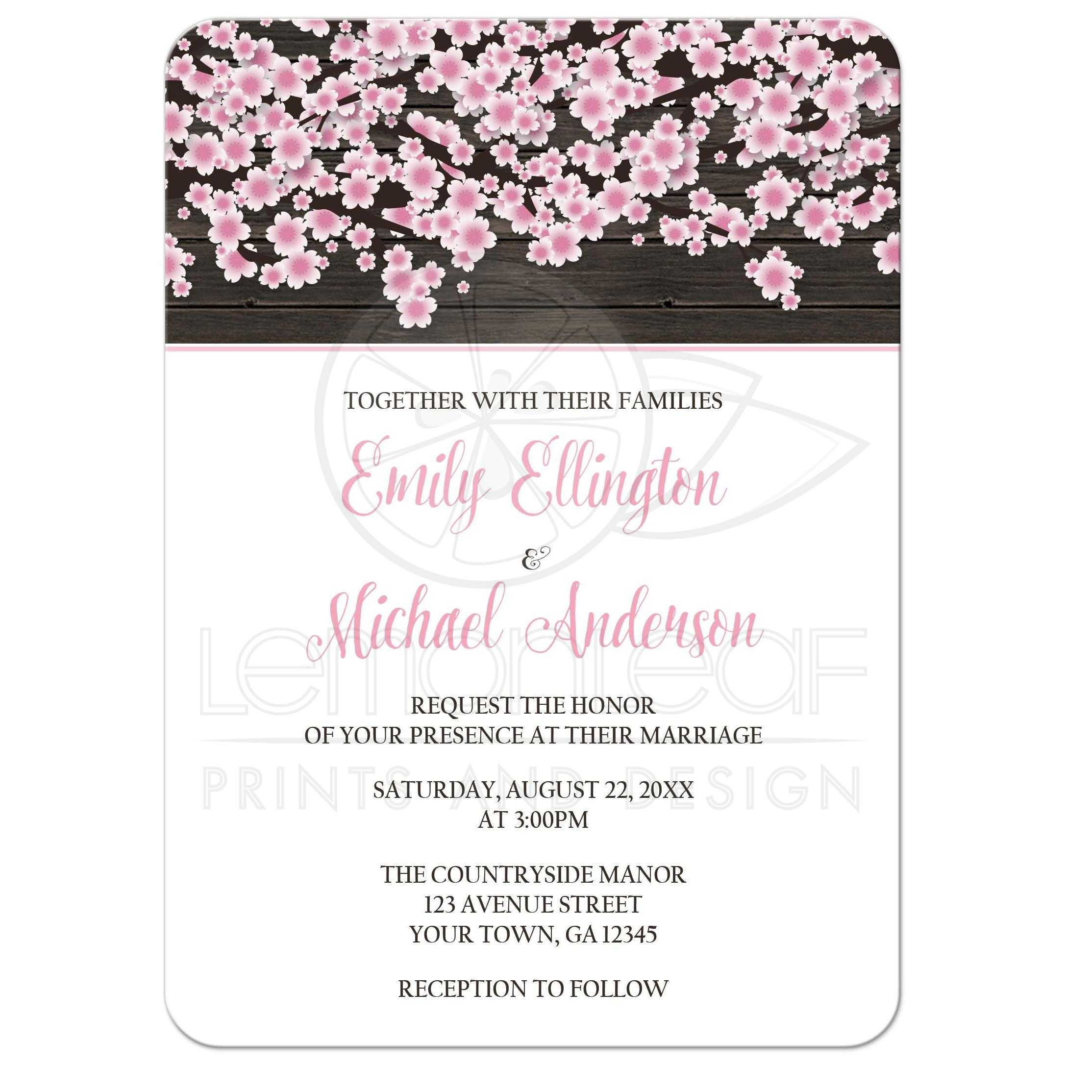 wedding invitations cherry blossom rustic wood white