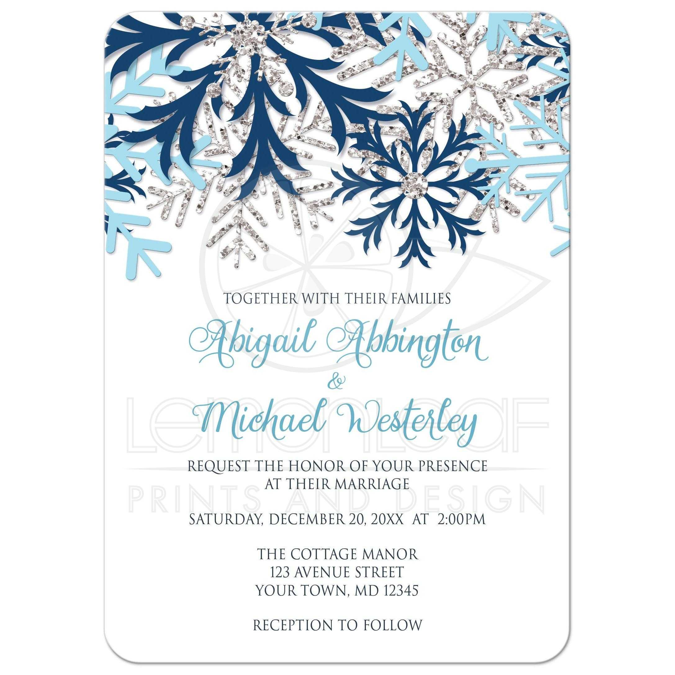 Wedding Invitations Winter Snowflake Blue Silver