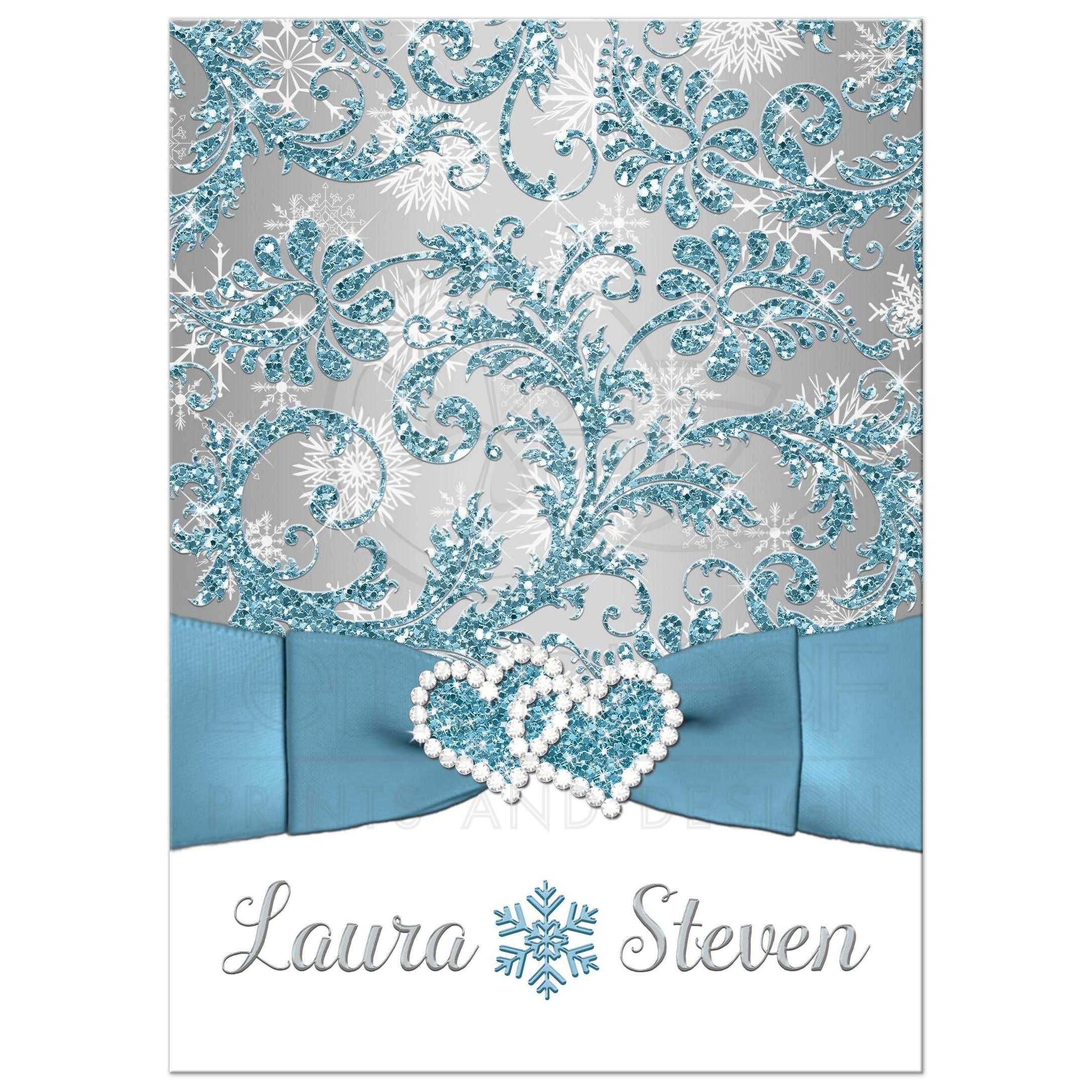 Winter Wonderland Wedding Invitation In Ice Blue Silver And White Snowflakes