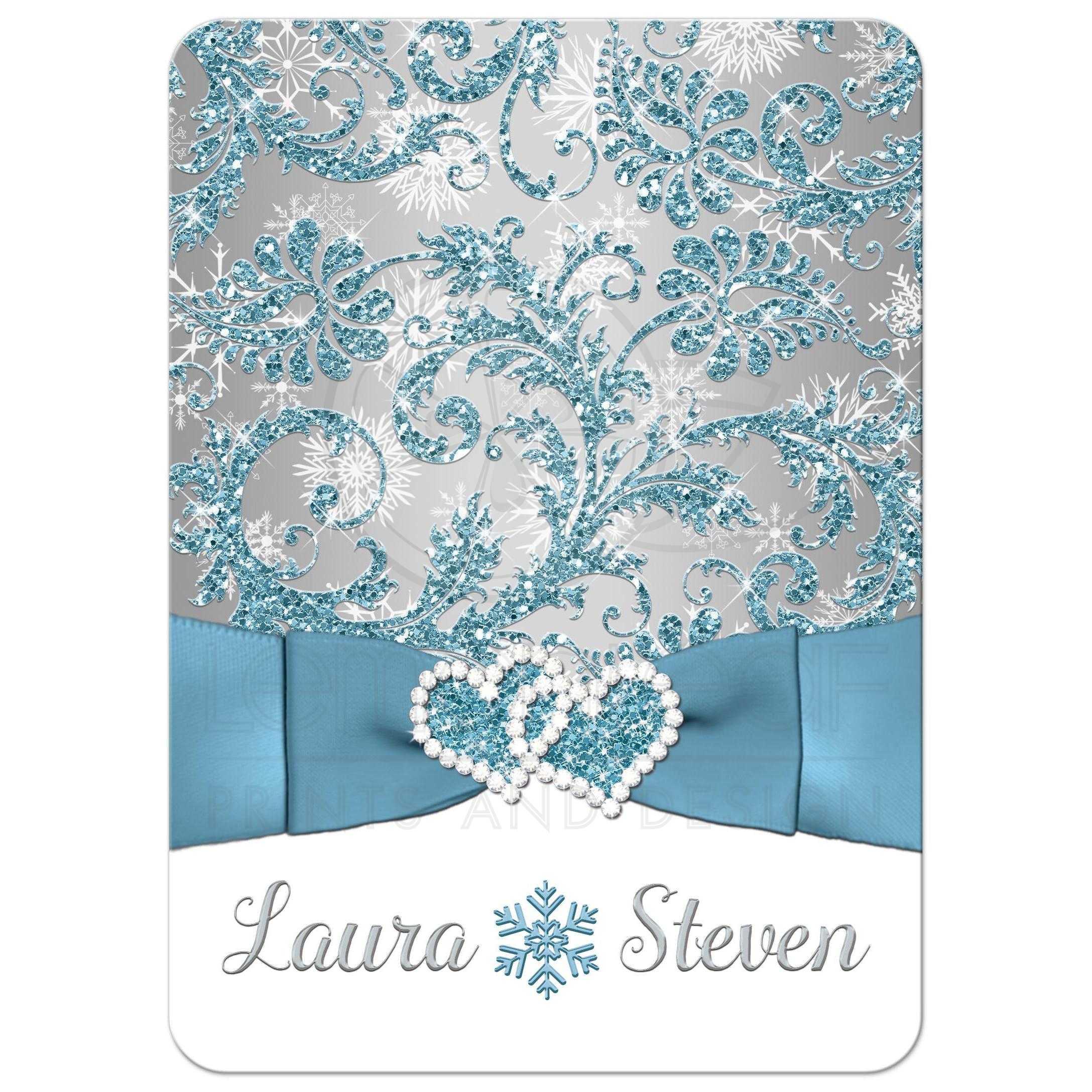 Wedding Invitation Winter Wonderland Ice Blue Silver White