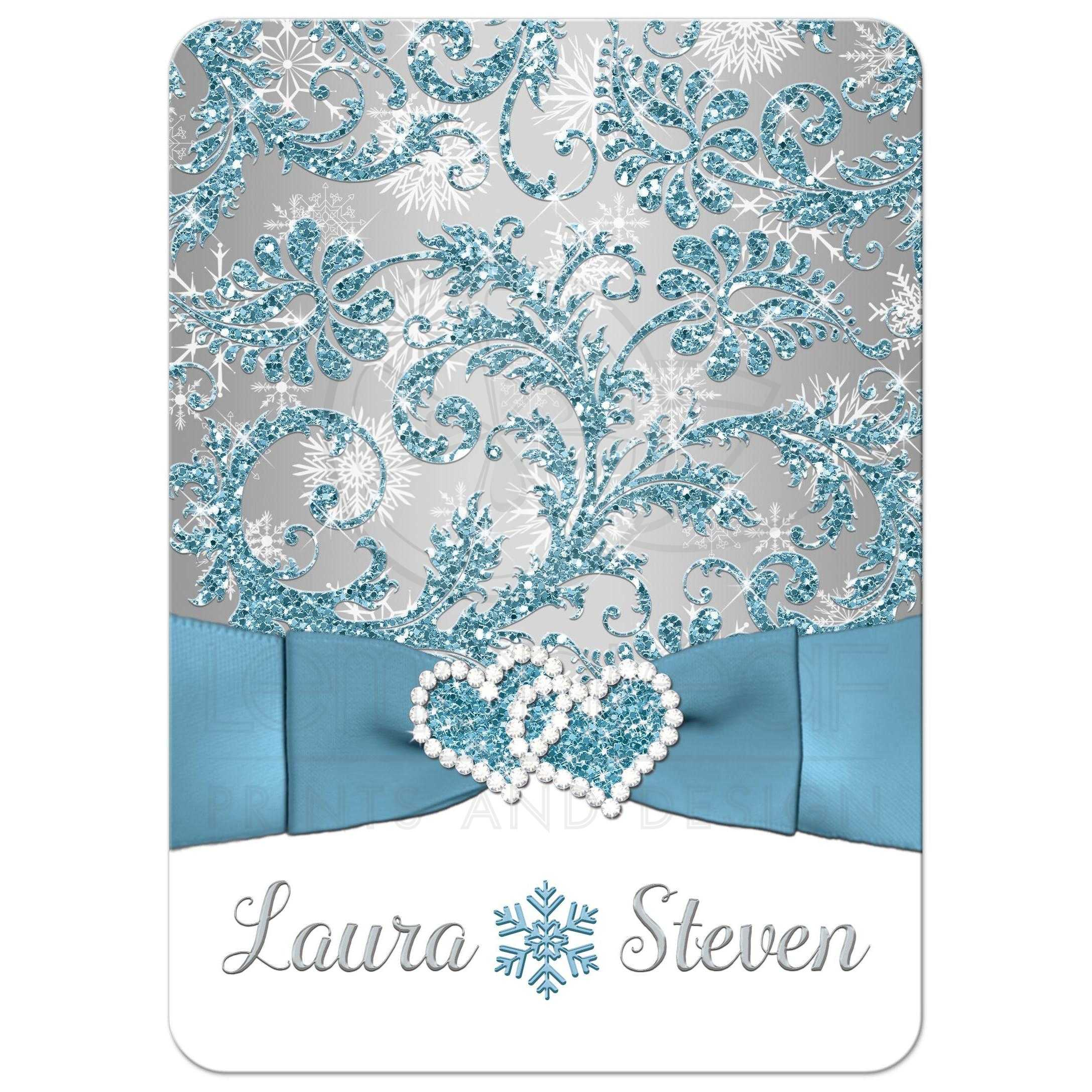 ... Winter Wonderland Wedding Invitation In Ice Blue, Silver, And White  Snowflakes ...