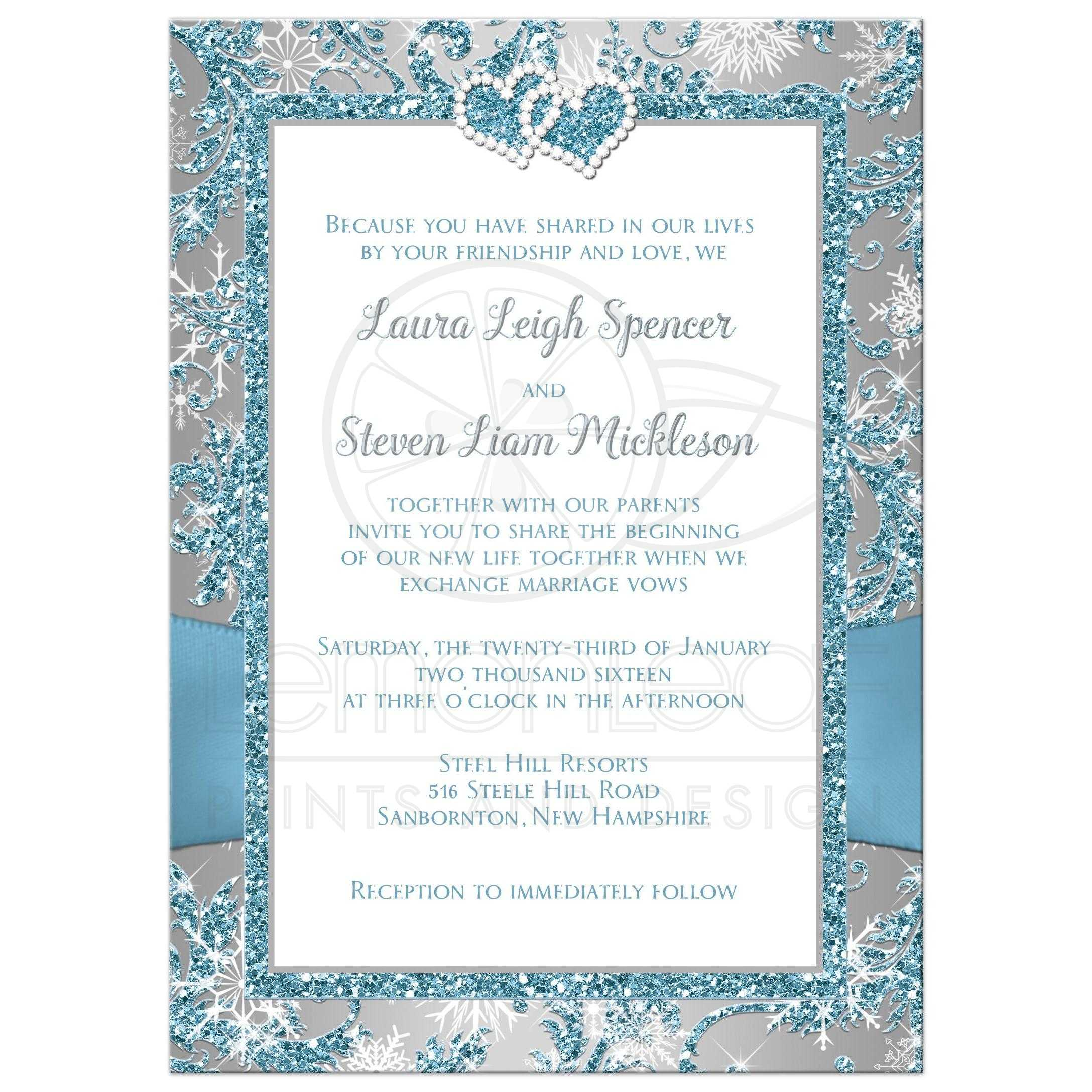 Wedding Invitation | Winter Wonderland | Ice Blue, Silver, White ...