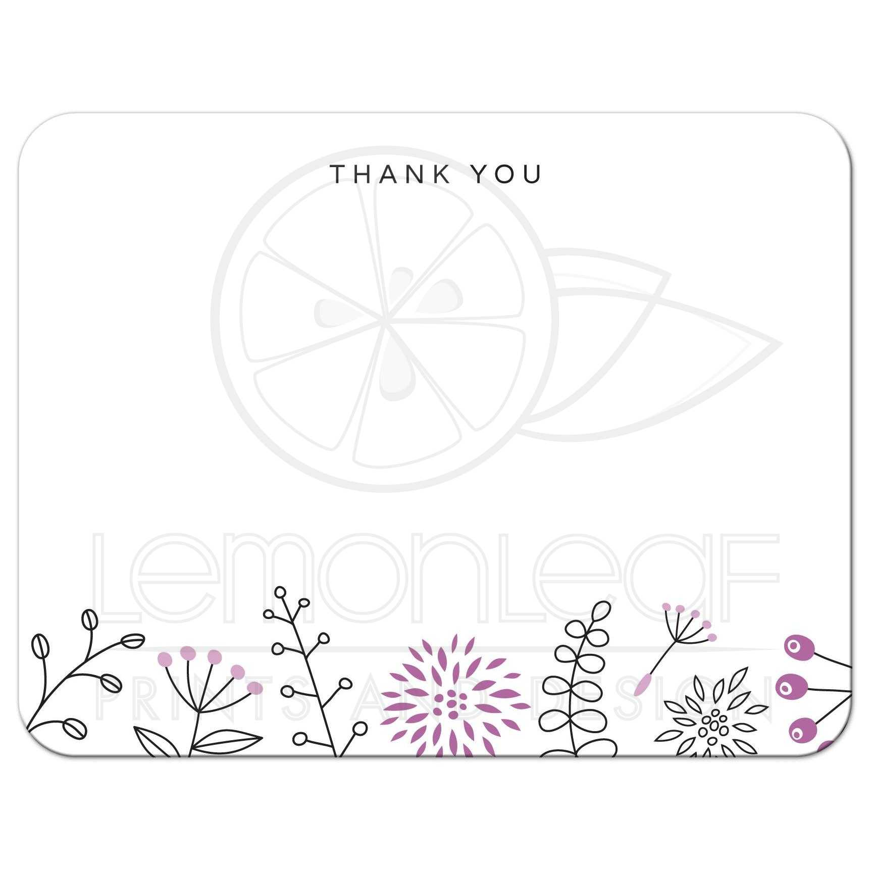 Flat thank you note card with purple nature doodles