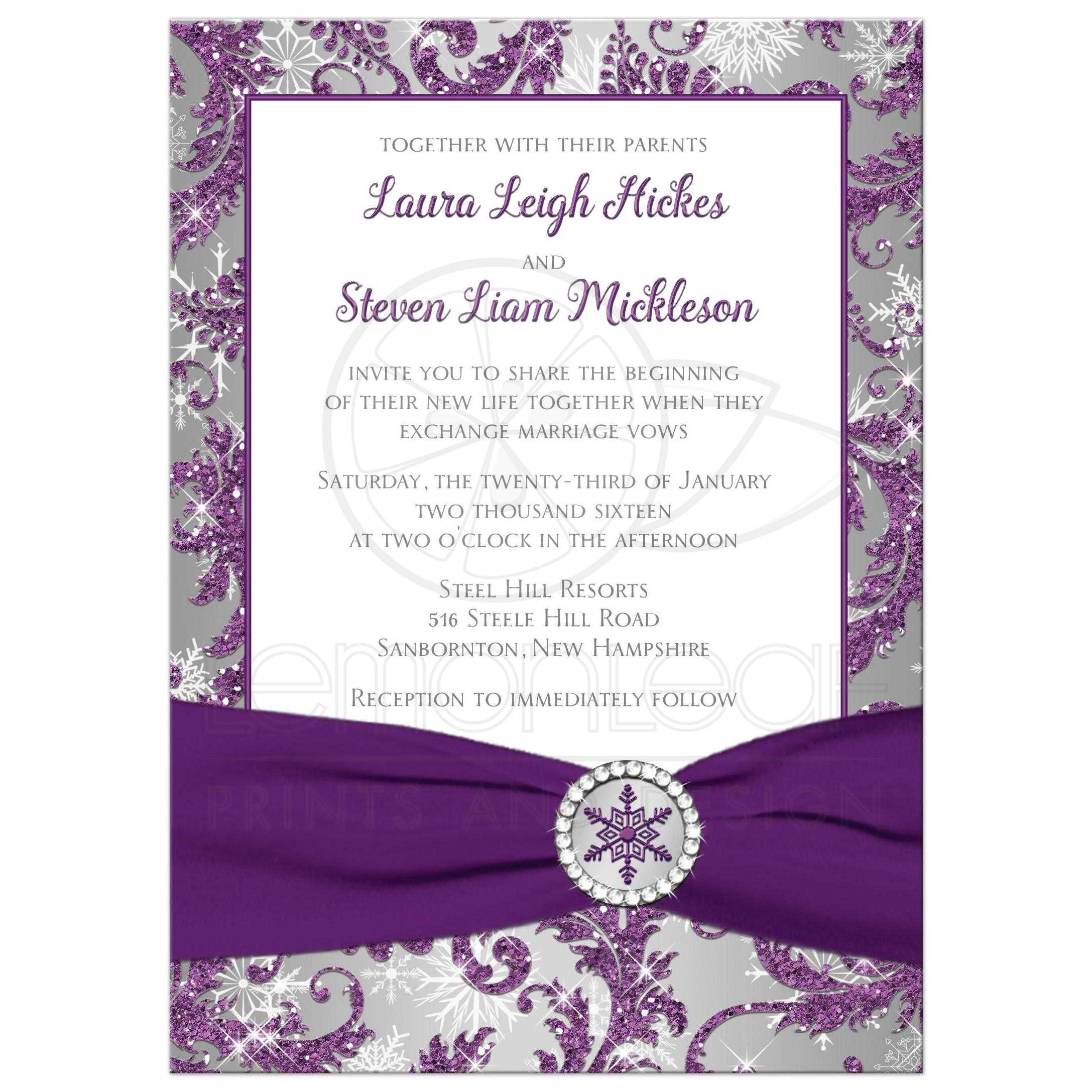 Winter Wonderland Wedding Invite In Ice Purple Silver And White Snowflakes With Ribbon Crystal