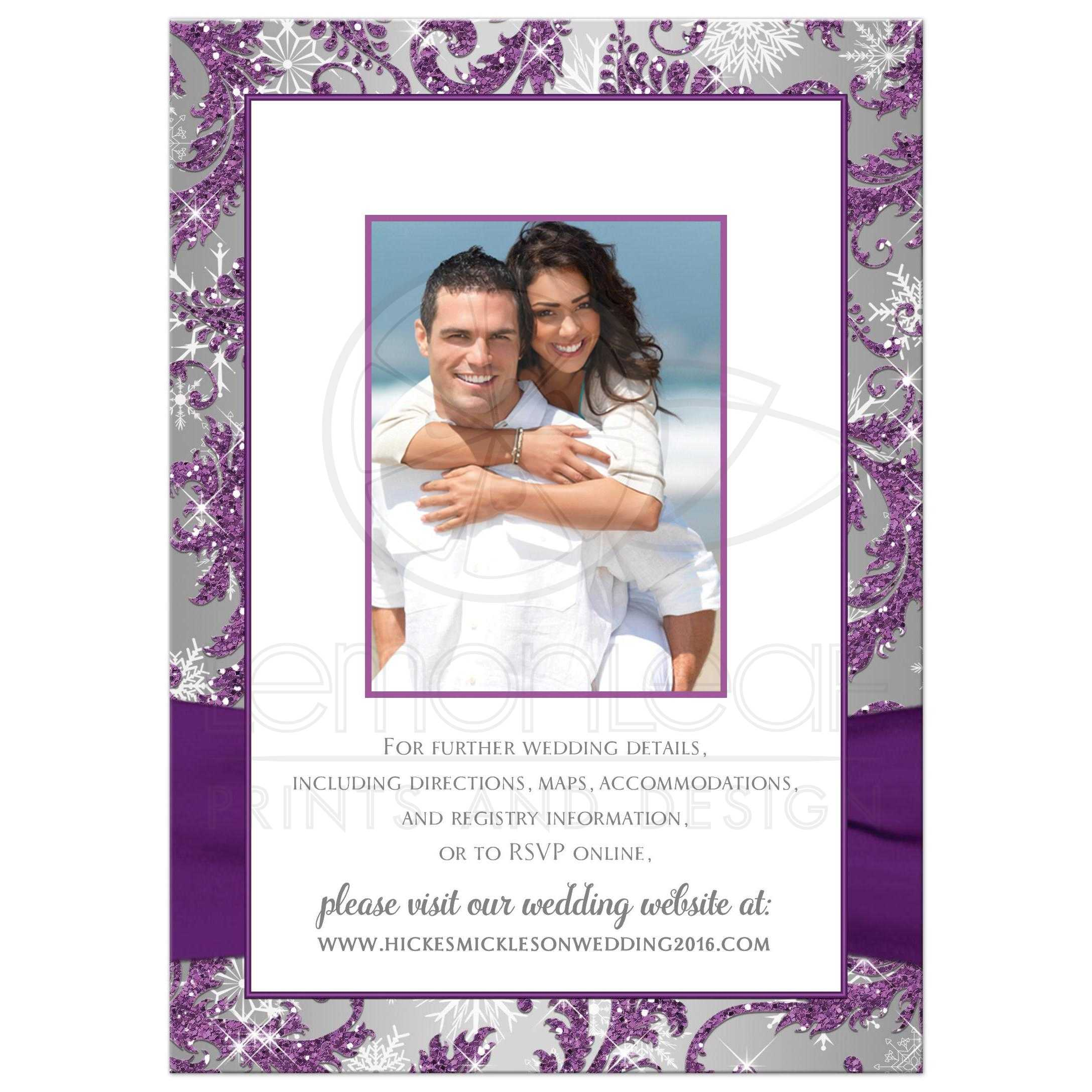 affordable purple silver grey and white snowflakes floral damask wedding invite with crystal brooch and - Purple And Silver Wedding Invitations