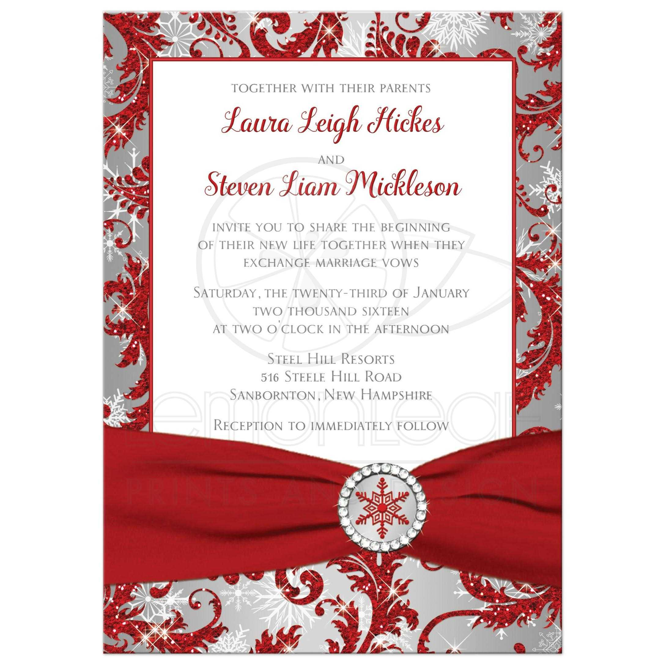 Wedding Invitation | Winter Wonderland | Red, Silver, White ...