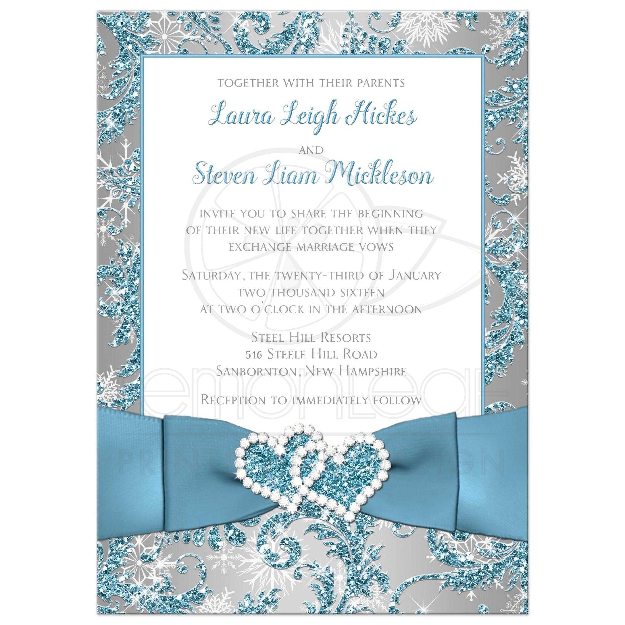 Winter Wonderland Wedding Invite In Ice Blue, Silver And White Snowflakes  With Joined Jewelled Hearts ...