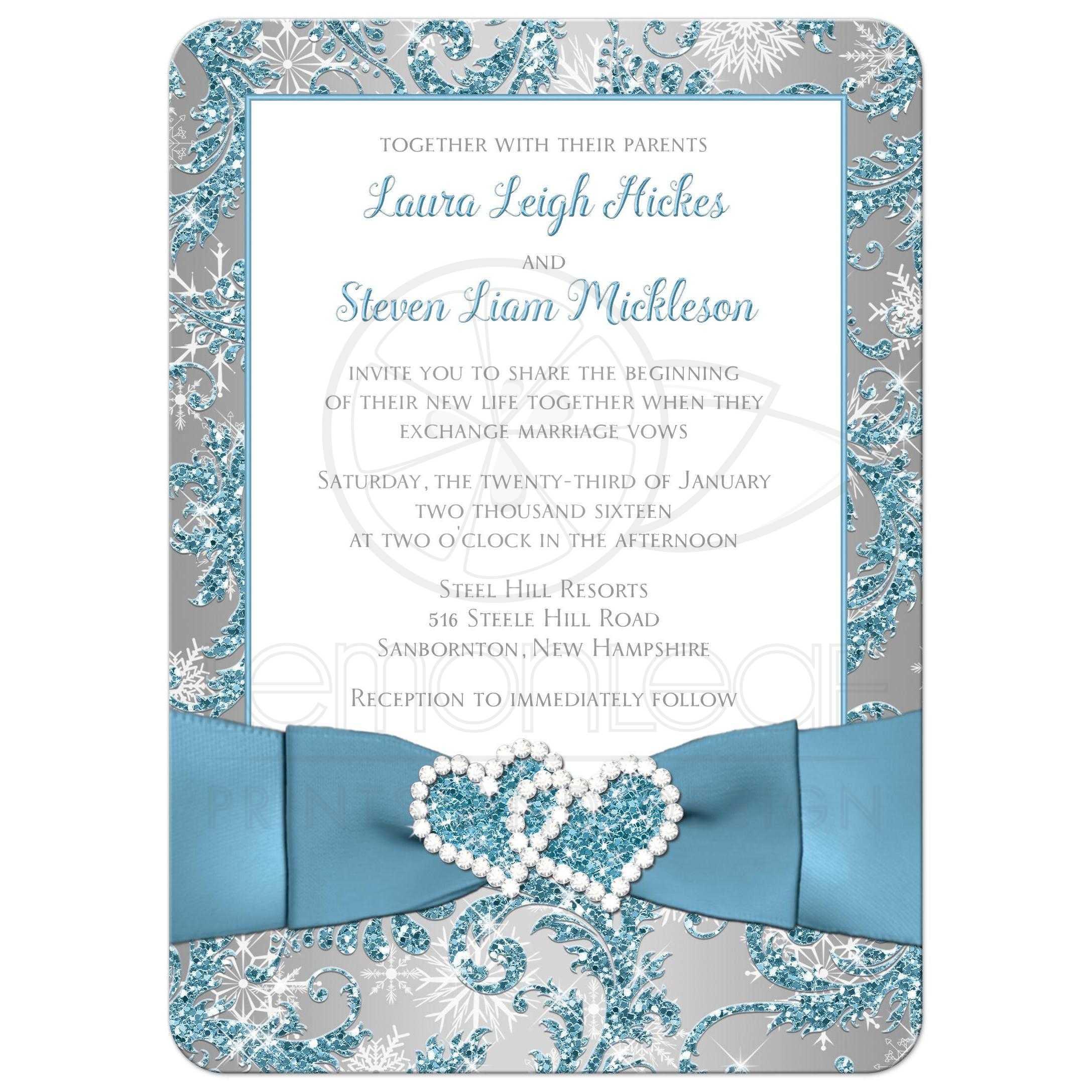 Wedding Invitation   Winter Wonderland 2   Ice Blue, Silver, White ...