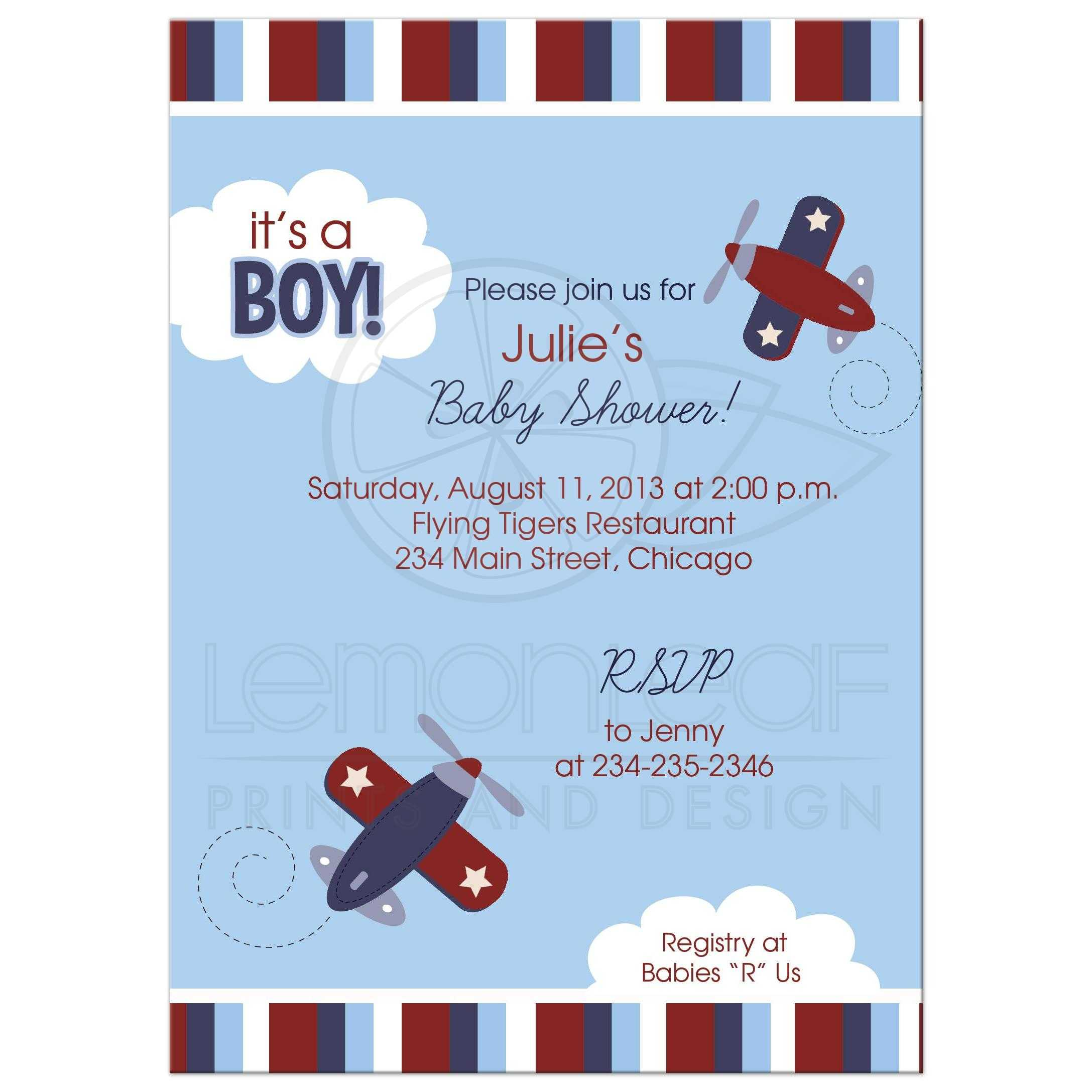 Zooming Along Airplane Transportation Boy Baby Shower Invitation