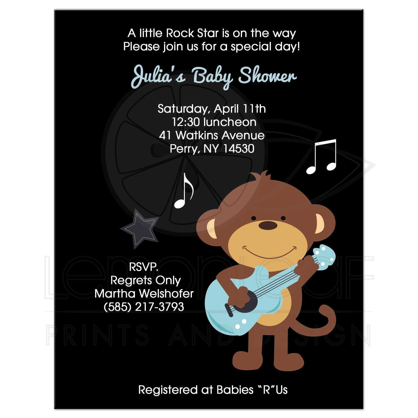Rock Star Monkey With Guitar Baby Shower