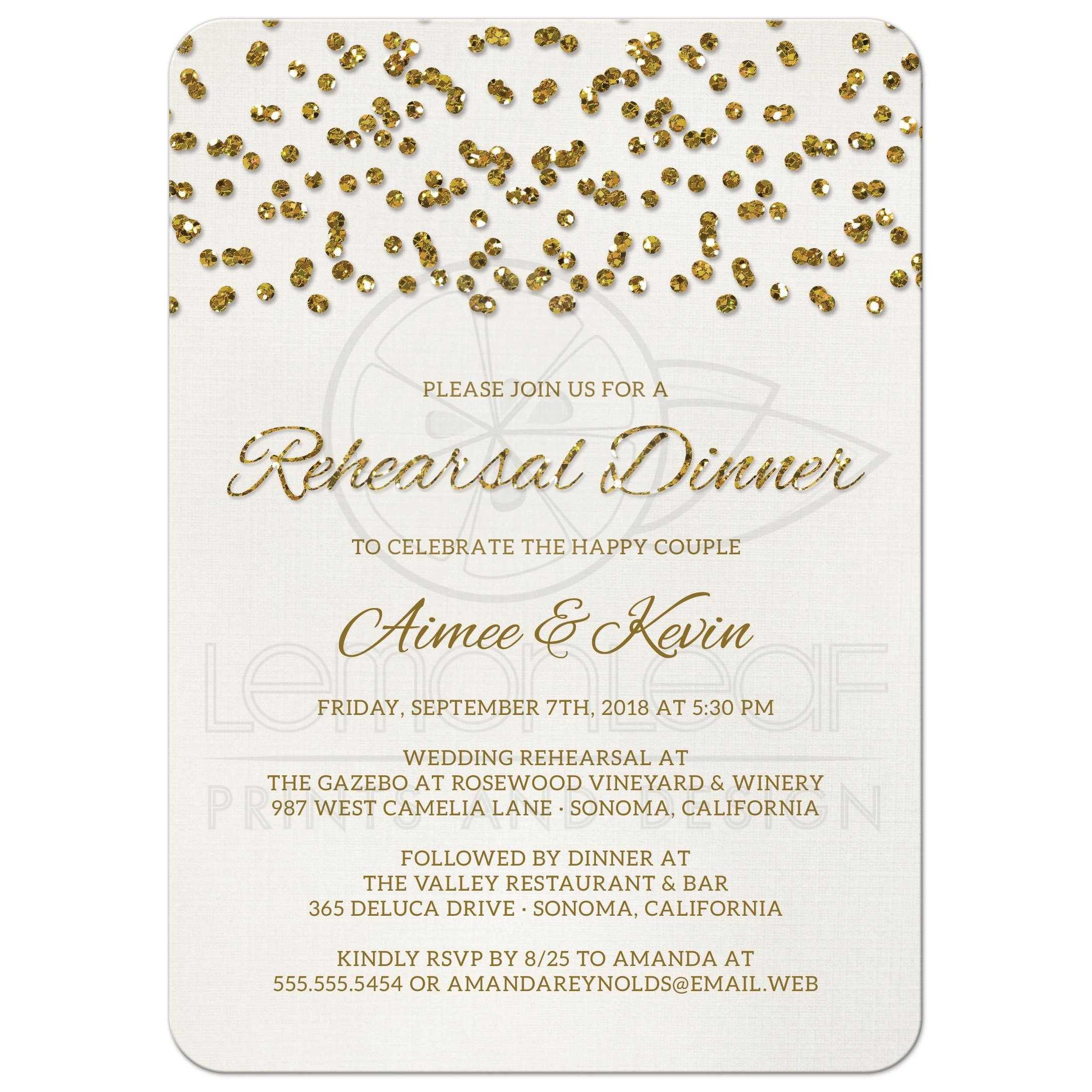 Rehearsal Dinner Invitations Glamorous Glitter Look Confetti Dots