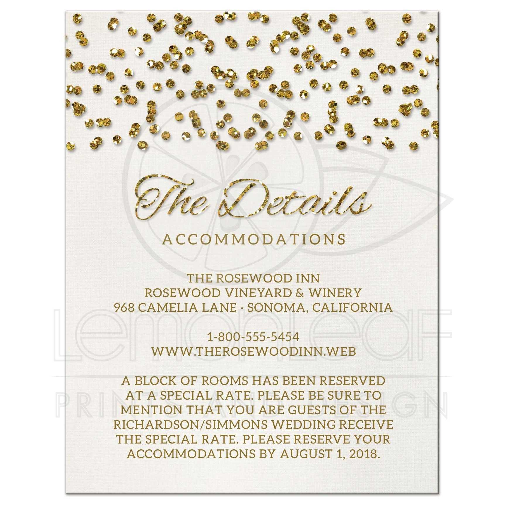 Wedding Invite Enclosures: Glamorous Glitter Look Confetti Dots