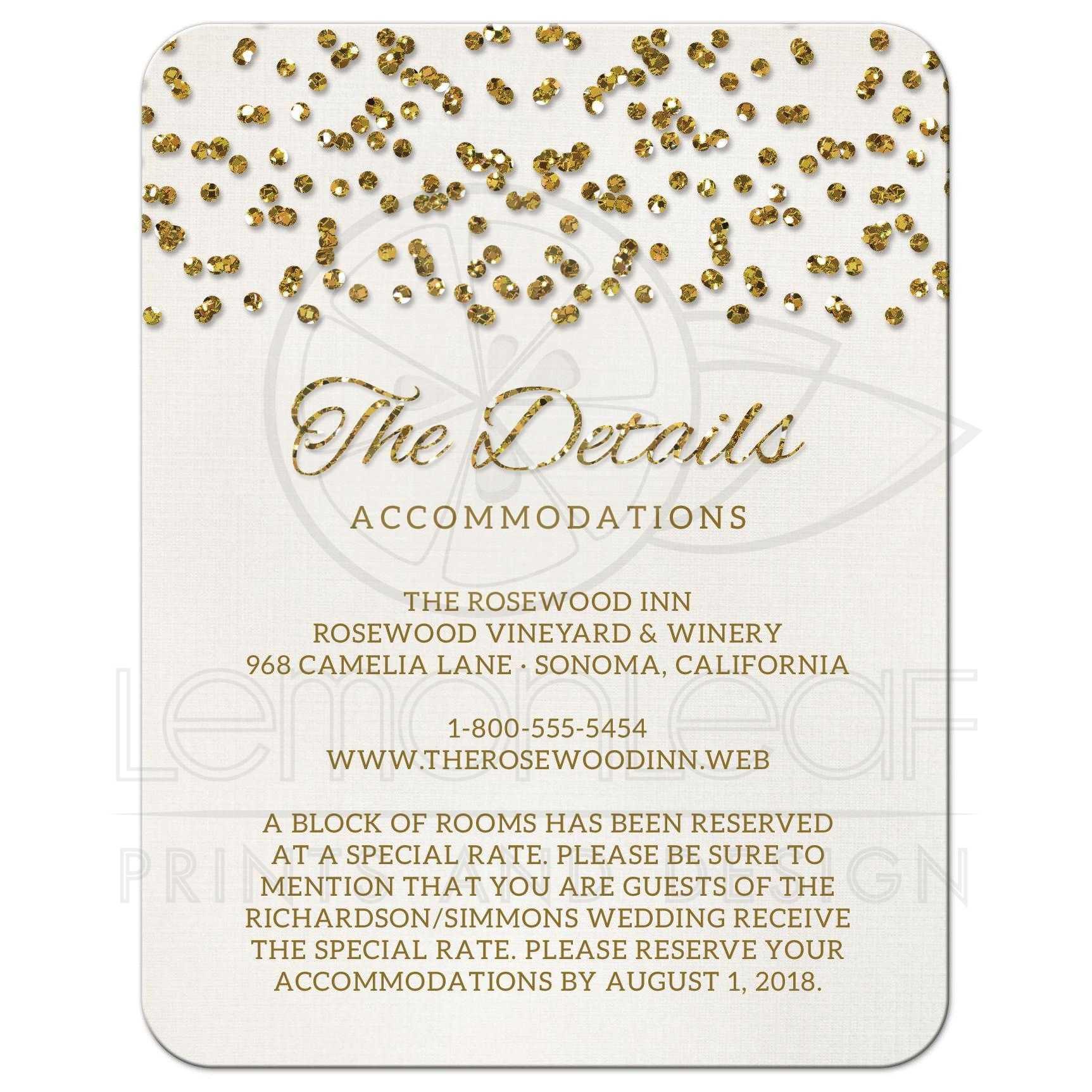 wedding enclosure cards glamorous glitter look confetti dots