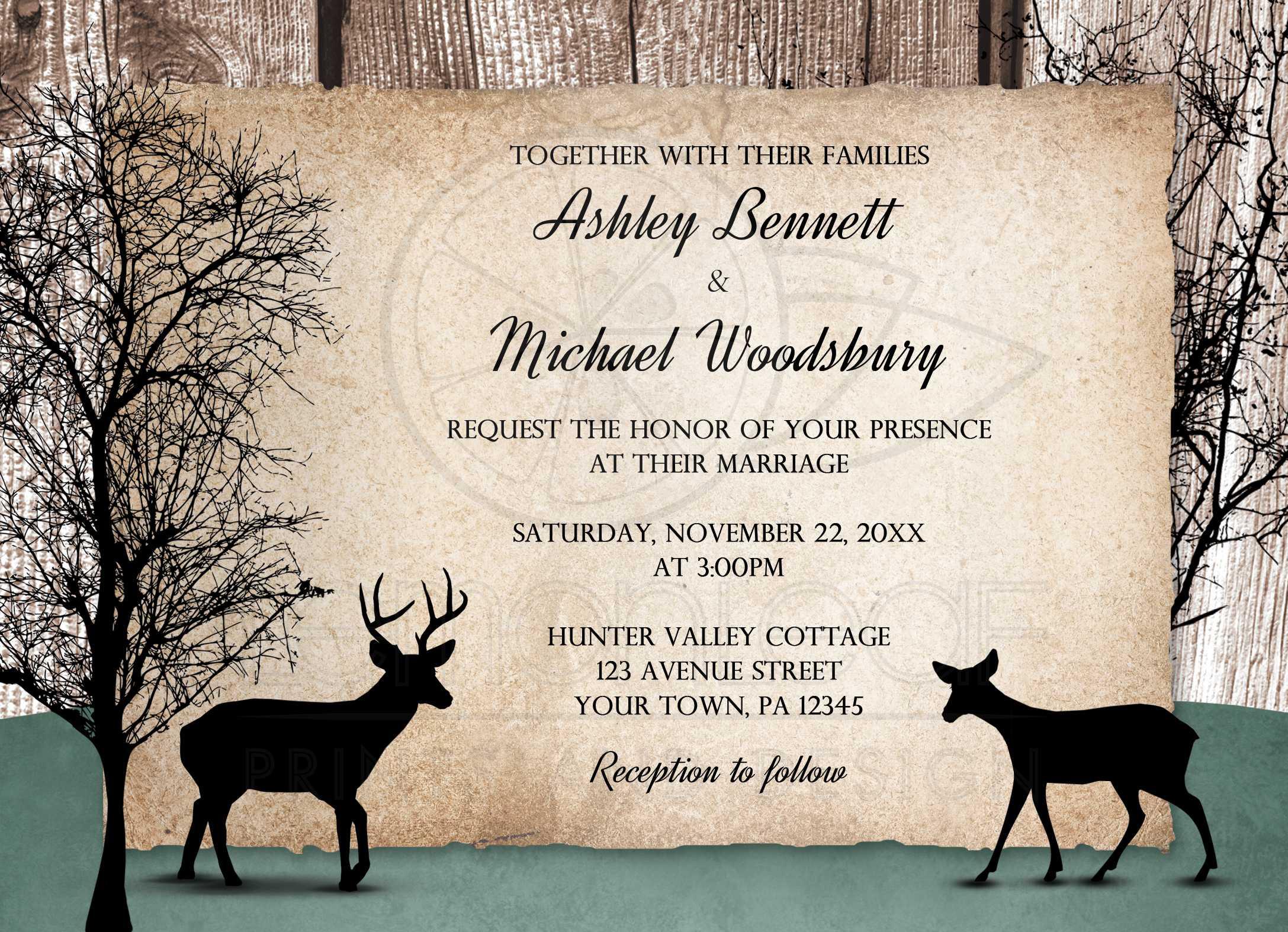 wedding invitations - deer rustic woodsy, Wedding invitations
