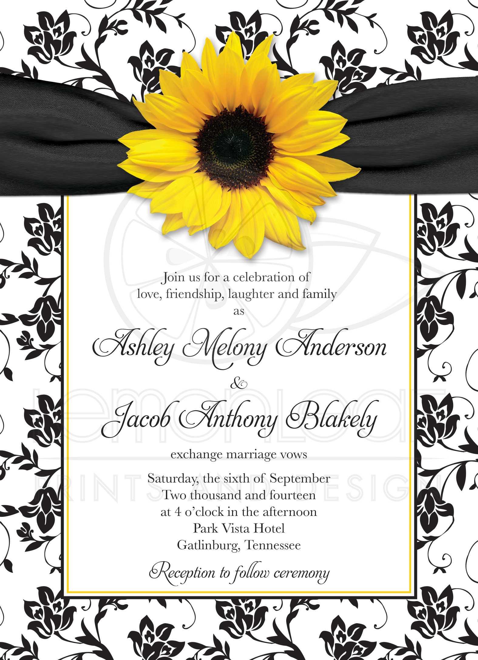 Wedding Invitation | Sunflower Damask Black White Yellow