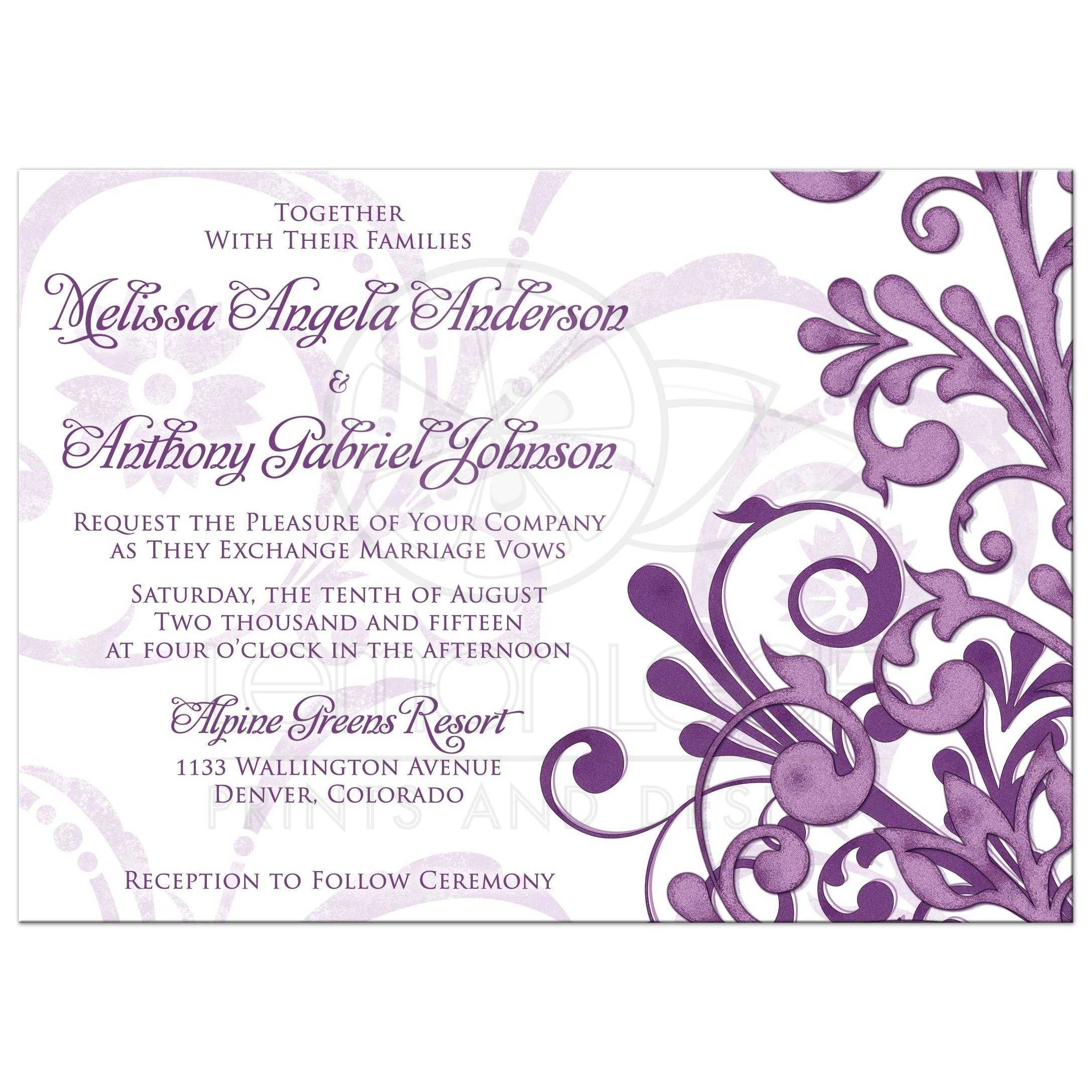 Eggplant Purple And Lavender Abstract Floral Elegant Wedding Invitation Front: Lavender And Purple Wedding Invite At Websimilar.org