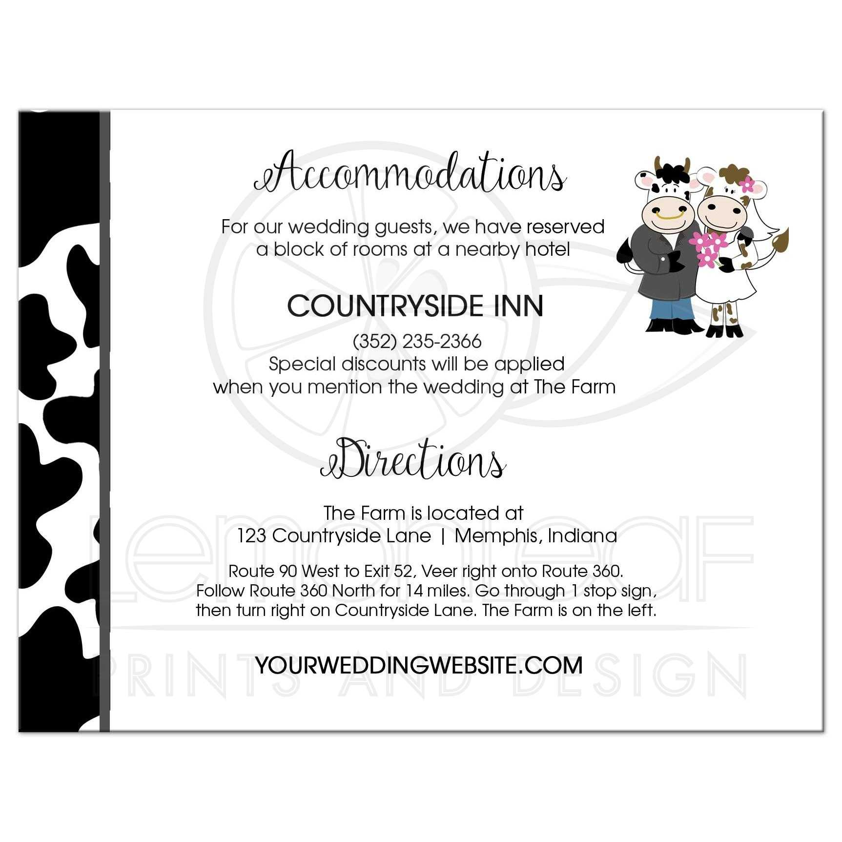 Udderly in love Cow Farm Accommodations, Directions Card Wedding Suite