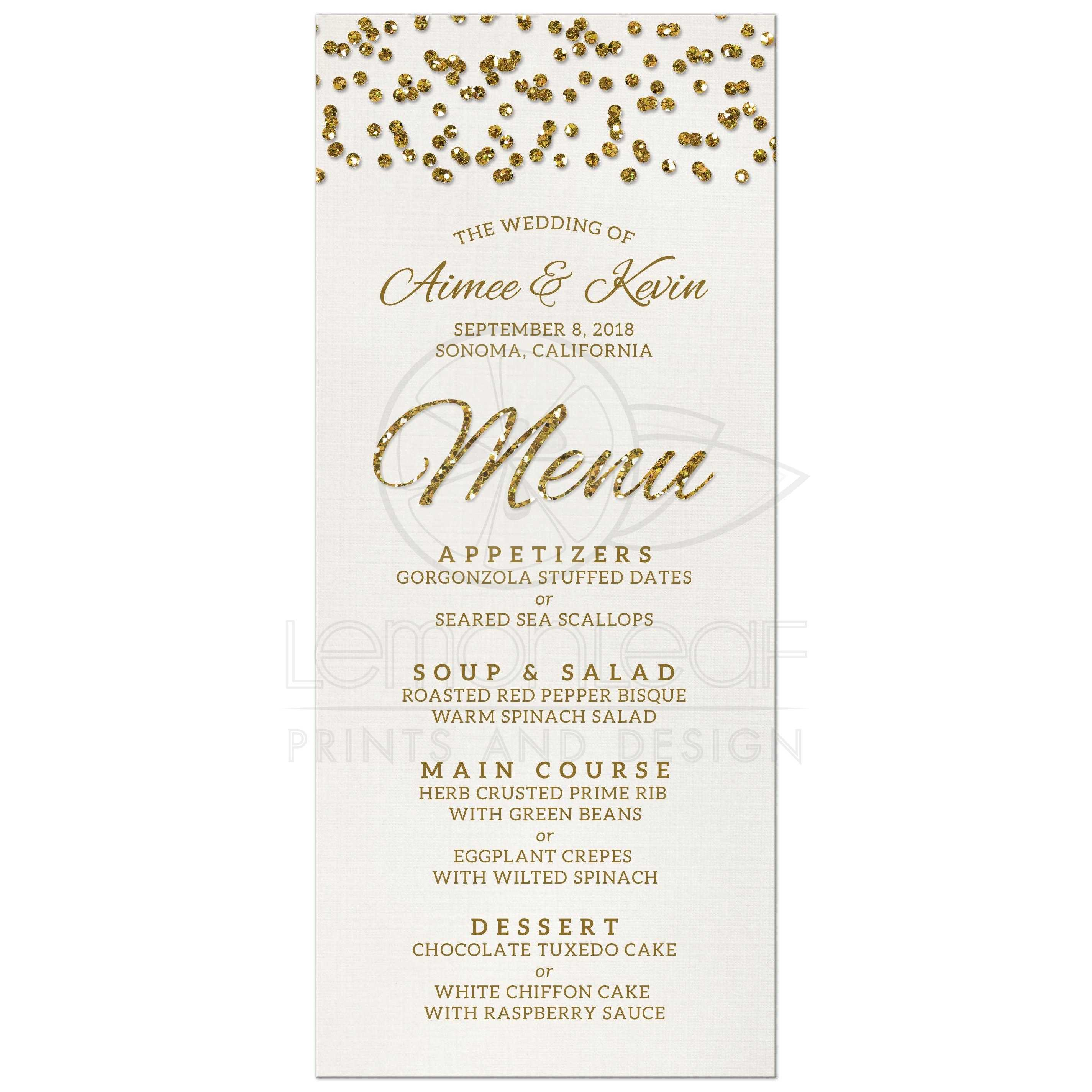 Wedding Menu - Glamorous Glitter Look Confetti Dots