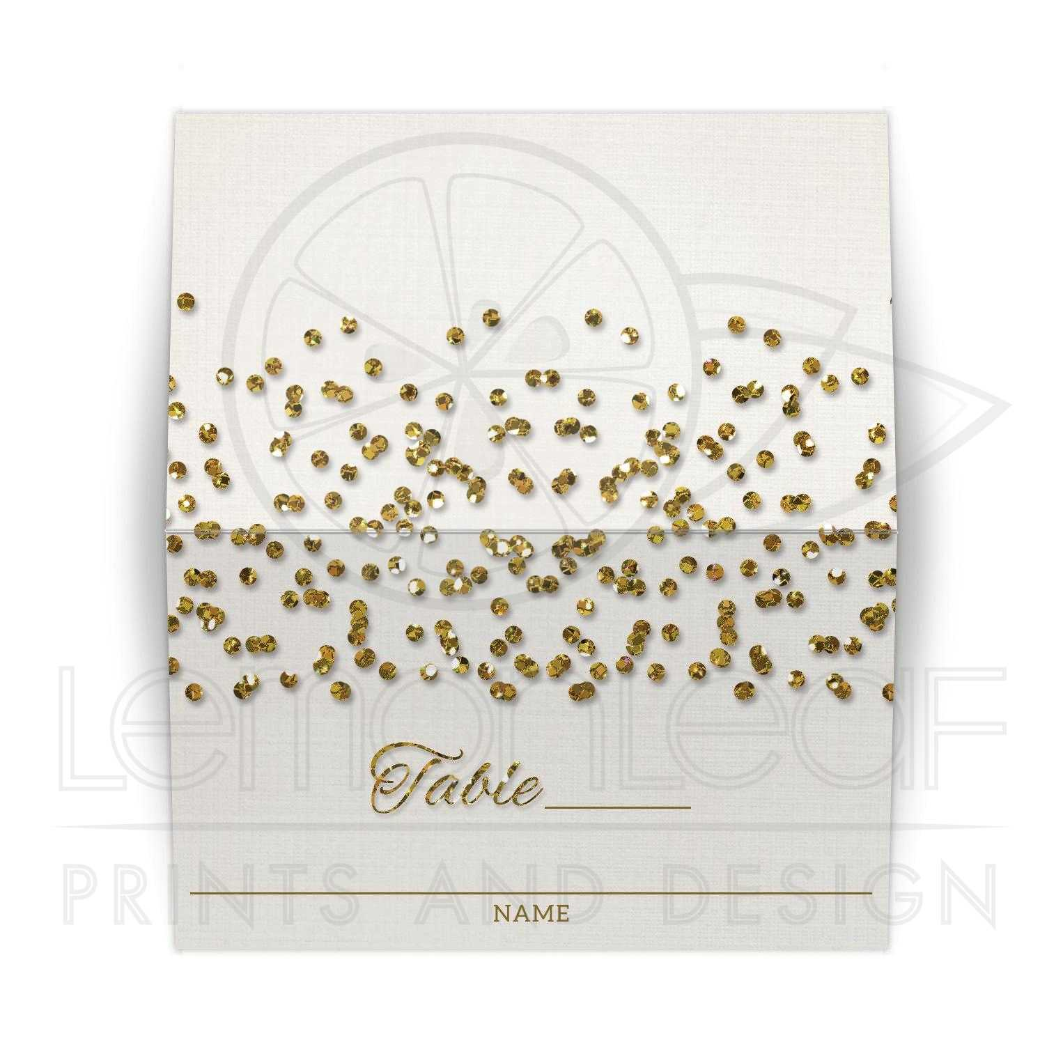 glamorous glitter confetti wedding place cards - Folded Place Cards