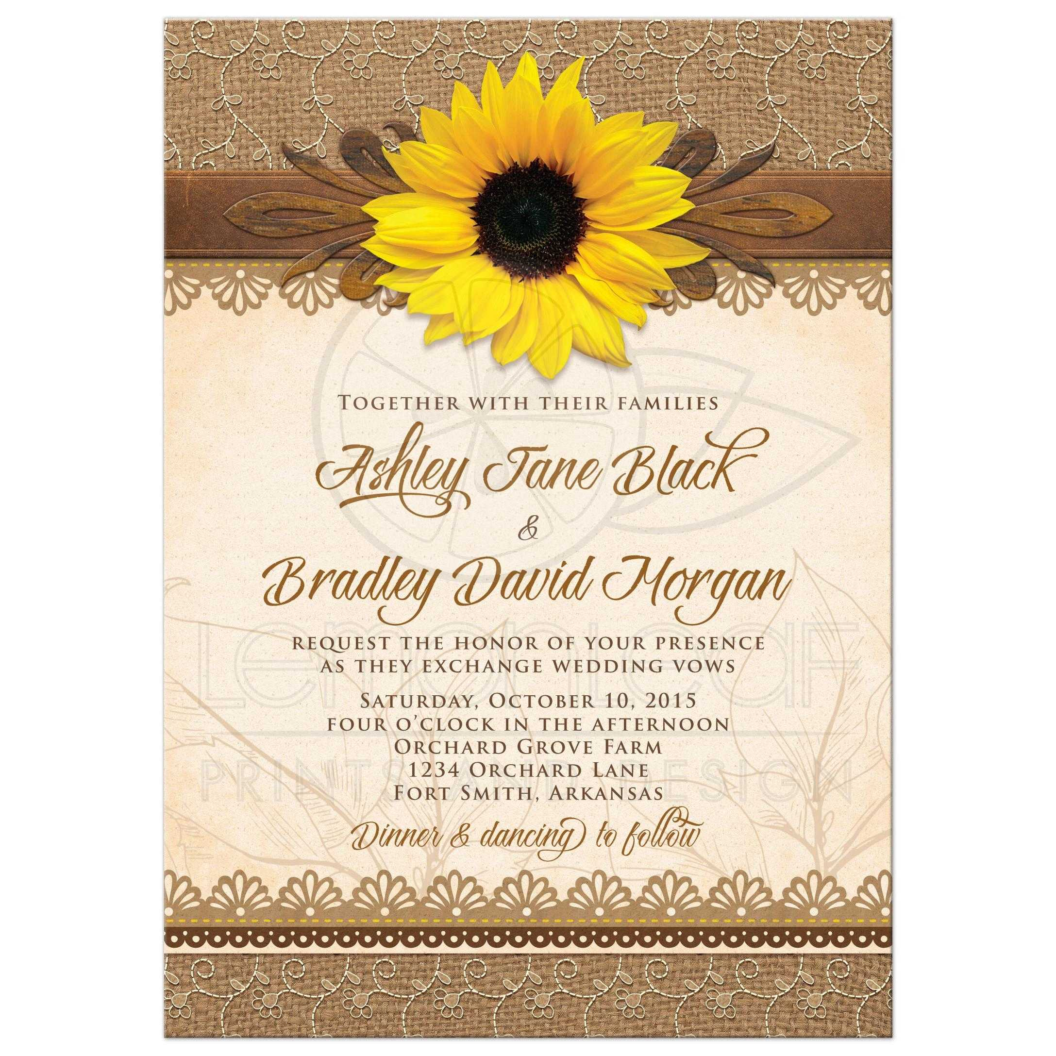 Wedding invitation rustic sunflower burlap lace wood rustic lace burlap wood and yellow sunflower country wedding invitation front monicamarmolfo Image collections