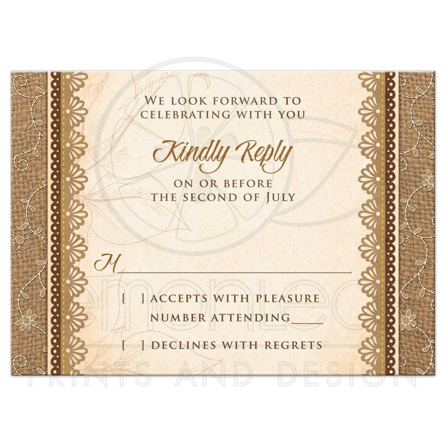 Wedding RSVP Card Rustic Burlap Lace Wood