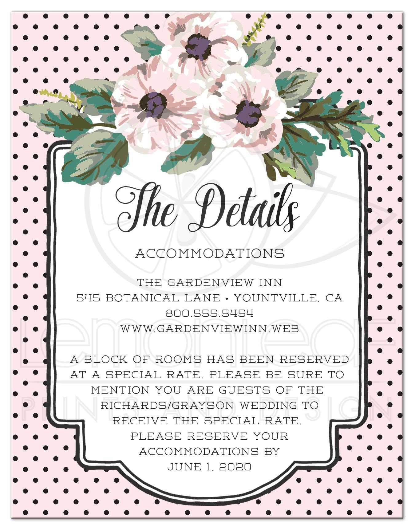 Wedding enclosure cards retro polka dots flowers