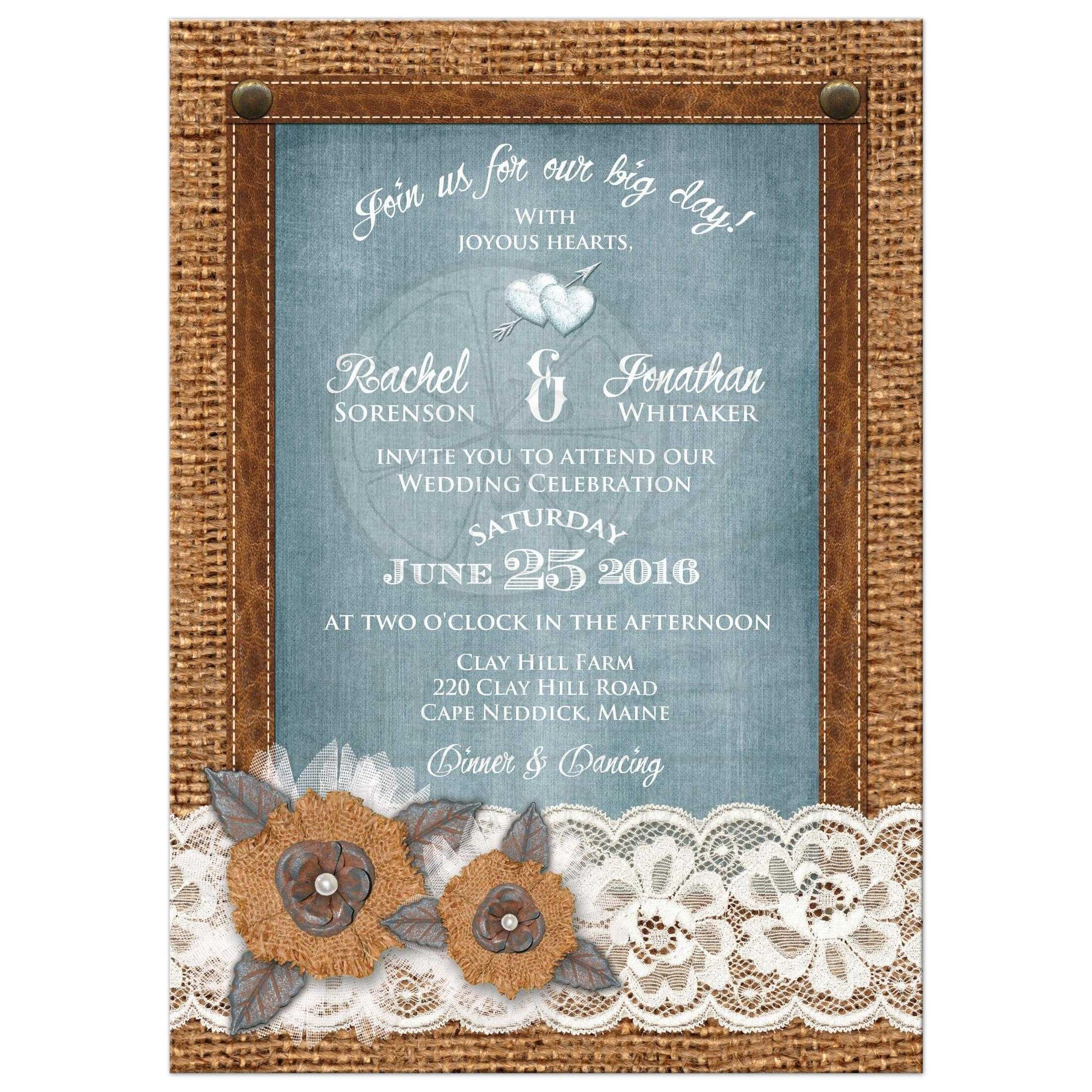Rustic Wedding Invitation Burlap Lace Denim Leather Metal