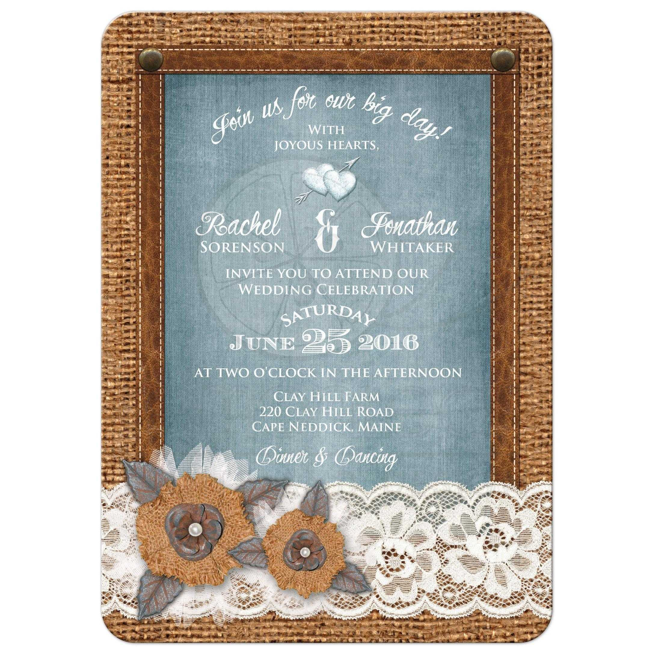 Great Rustic Country Wedding Invitation With Burlap Lace Leather Denim: Wedding Invitations With Burlap At Websimilar.org