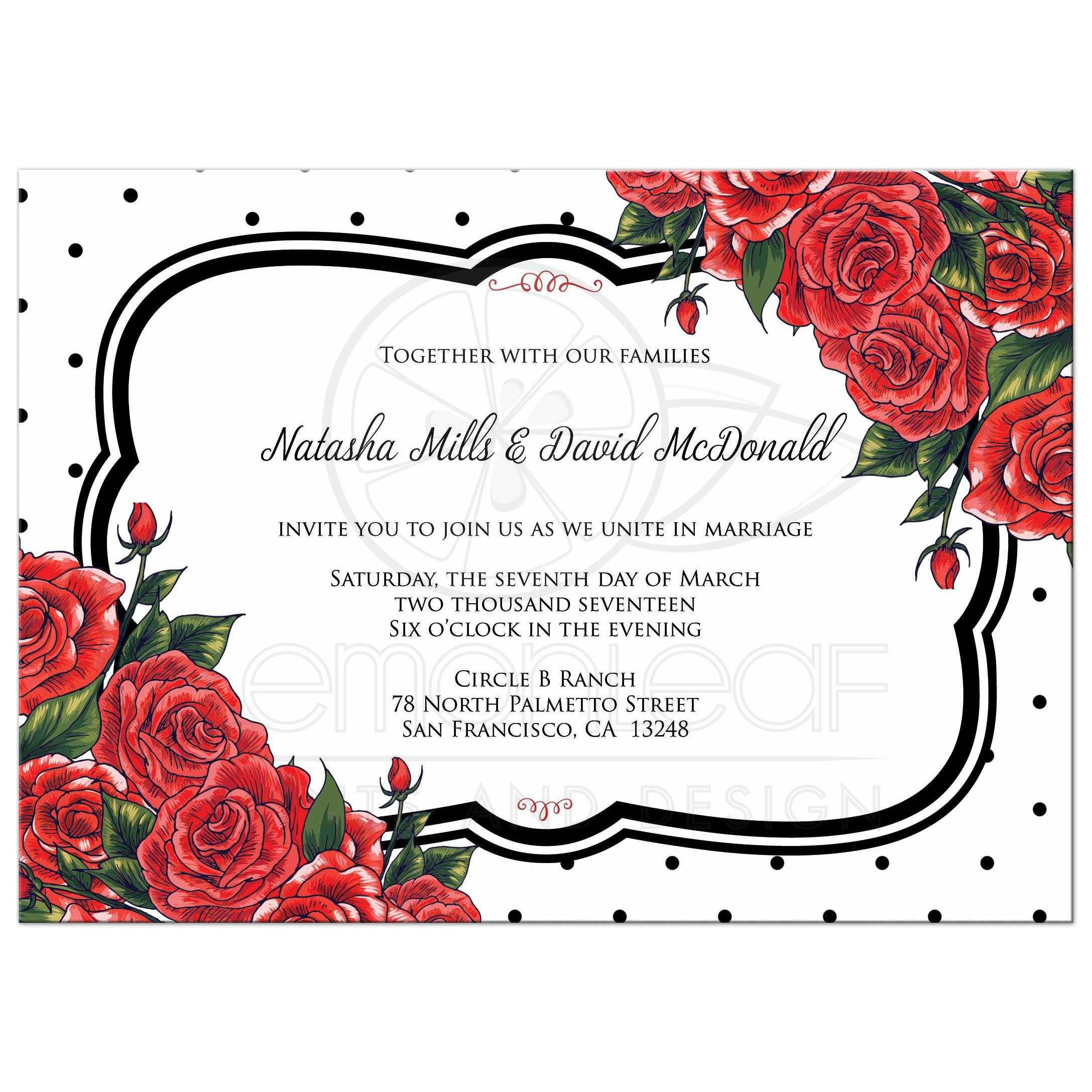 Wedding Invitation Black Polka Dots with Red Roses – Red Rose Wedding Invitation