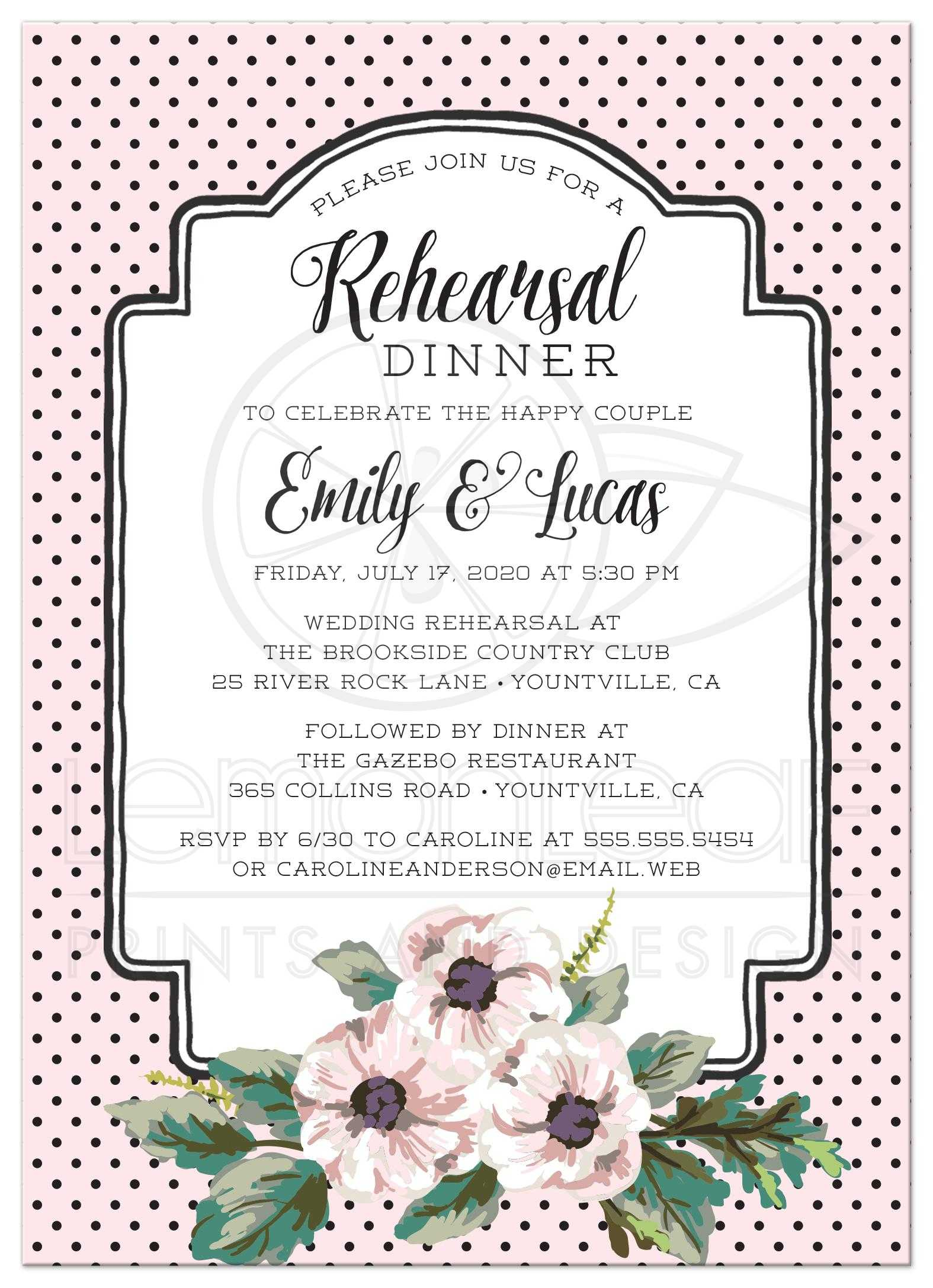 wedding rehearsal dinner invitations retro polka dots flowers