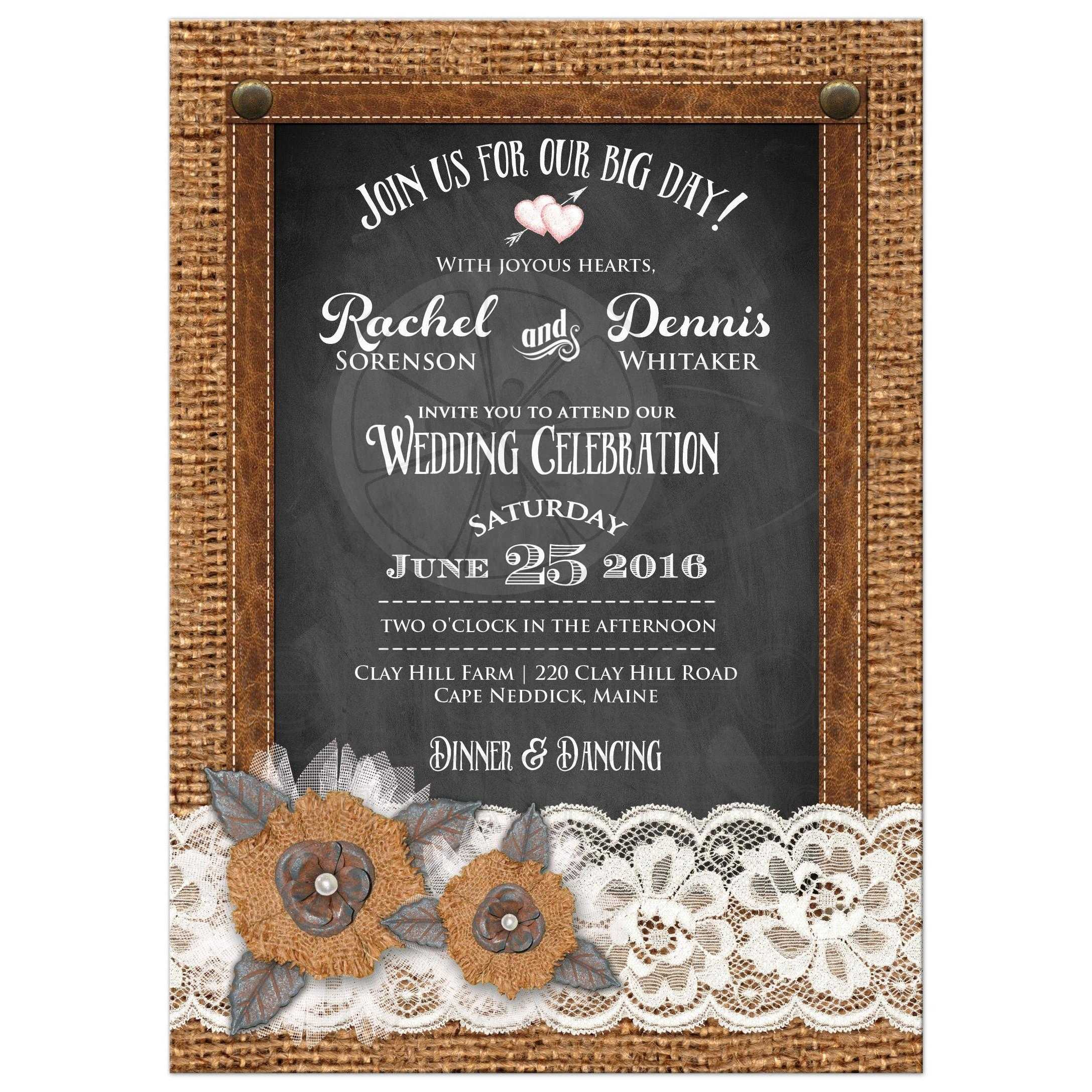 Great Rustic Country Wedding Invitation With Burlap Lace Chalkboard Leather Metal Flowers