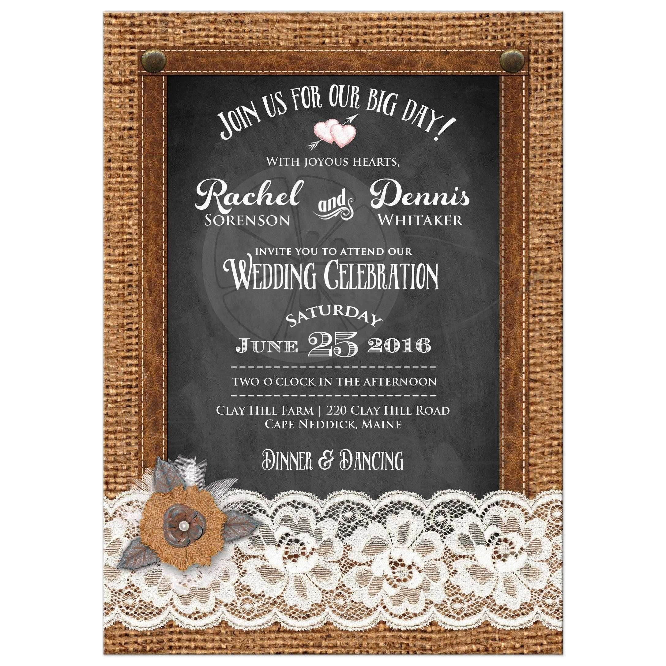 Leather Best Country Chalkboard Wedding Invite With A Photo Pearl Jewels White Lace