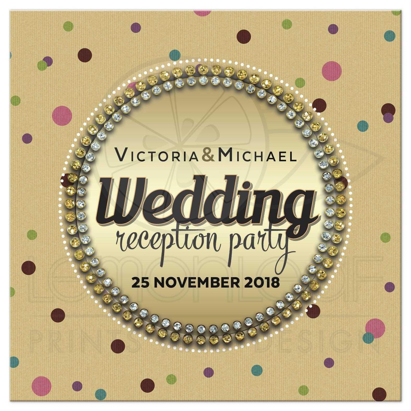 Polka Dot Gem Surprise Wedding Reception Party Invite