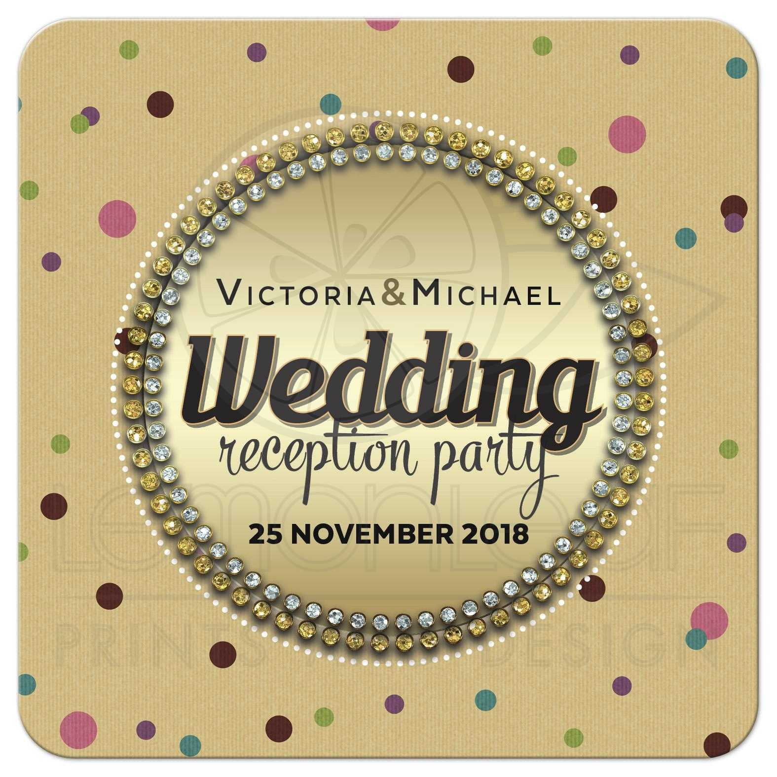 Polka Dot Gem Surprise Wedding Reception Party Invite