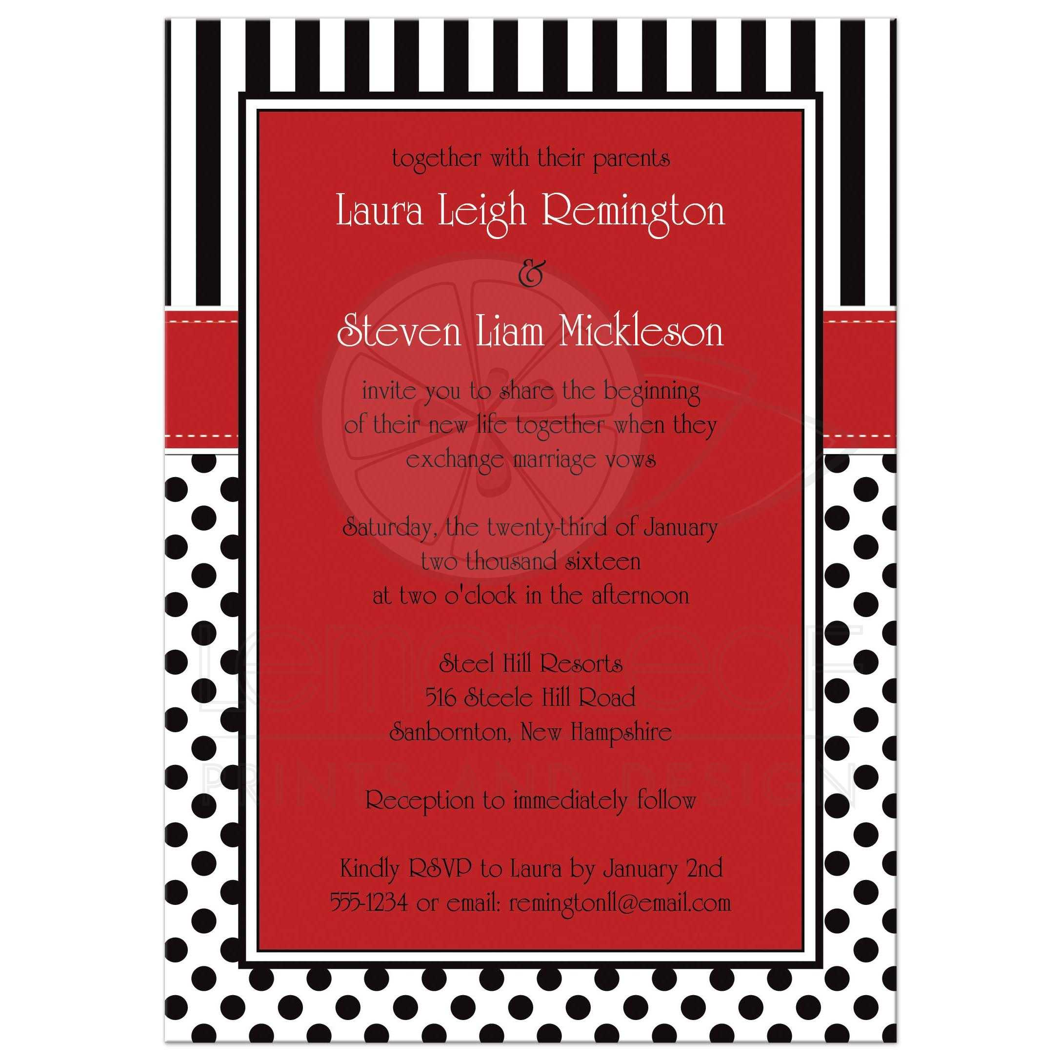 Wedding Invitation Black White Red Polka Dots and Stripes