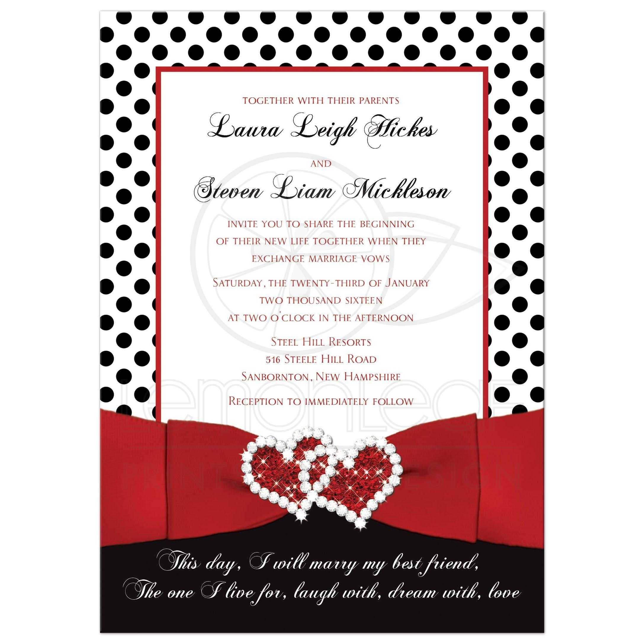 Wedding Invitation | Black, White Red | Polka Dots | Printed Ribbon