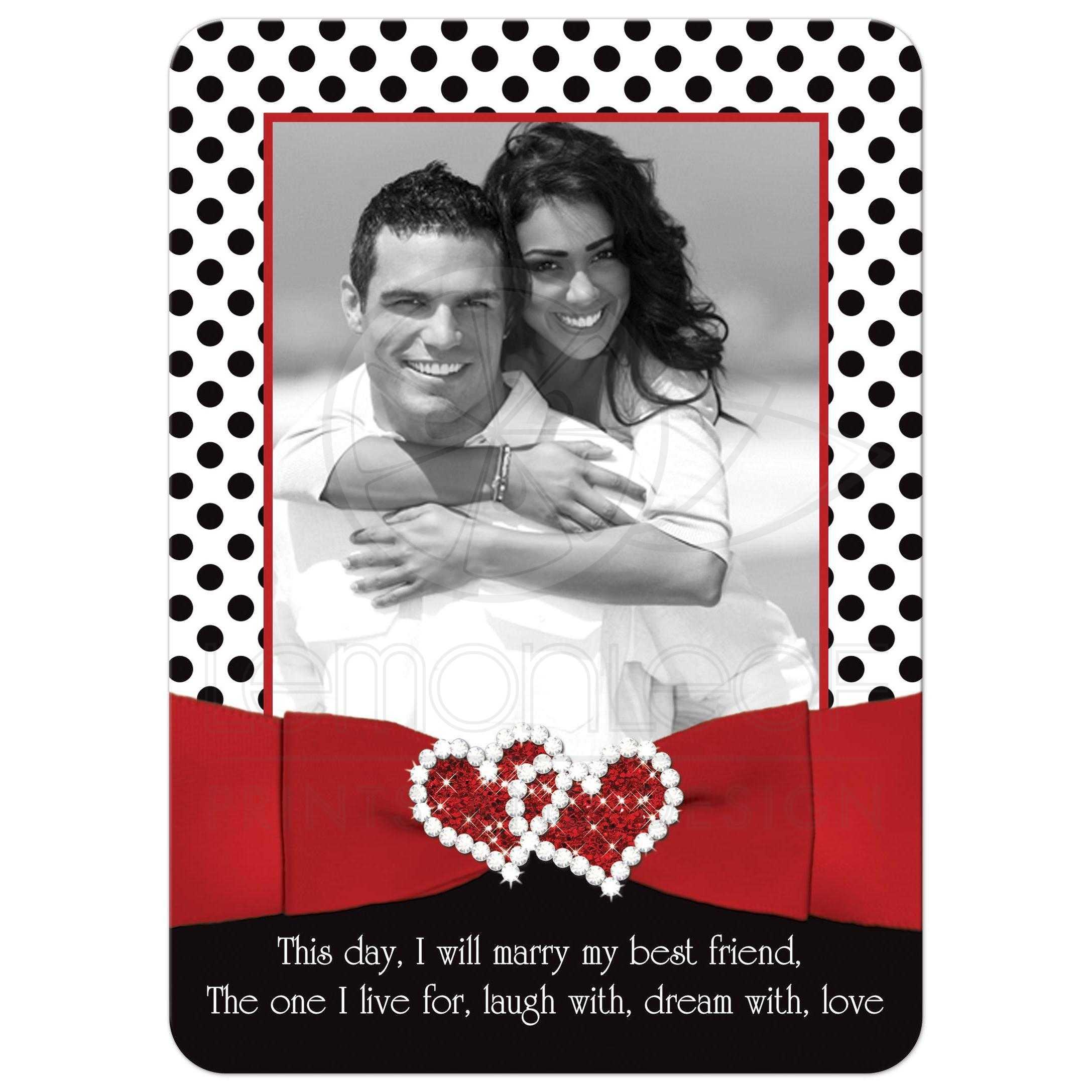 Wedding Invitation | Black, White Red | Polka Dots | Photo | Printed ...