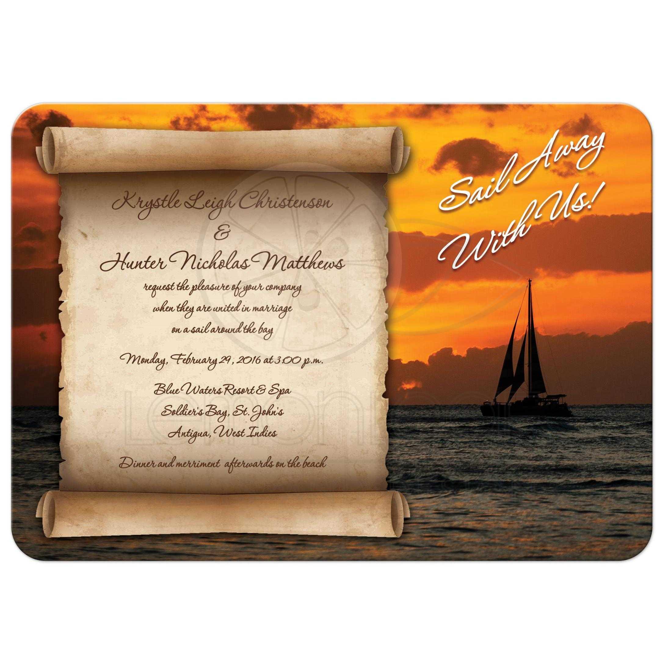 Sailboat Wedding Invitations: Destination Wedding Invitation