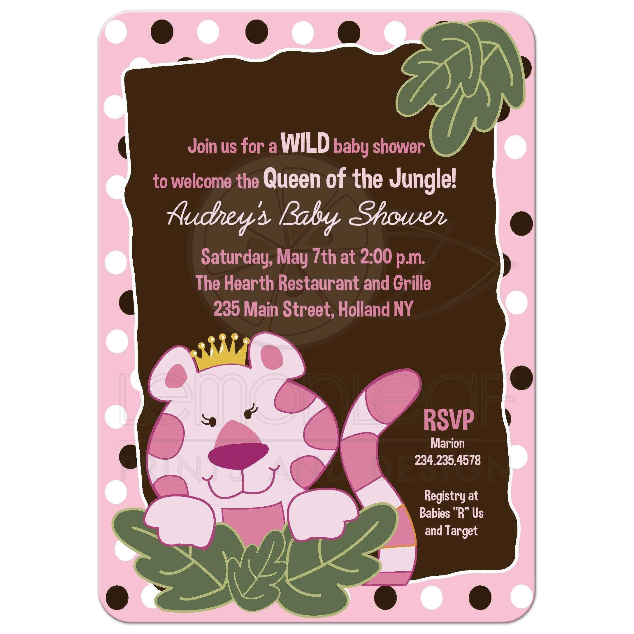 A7 Queen Of The Jungle Girl Safari Baby Shower Invitations