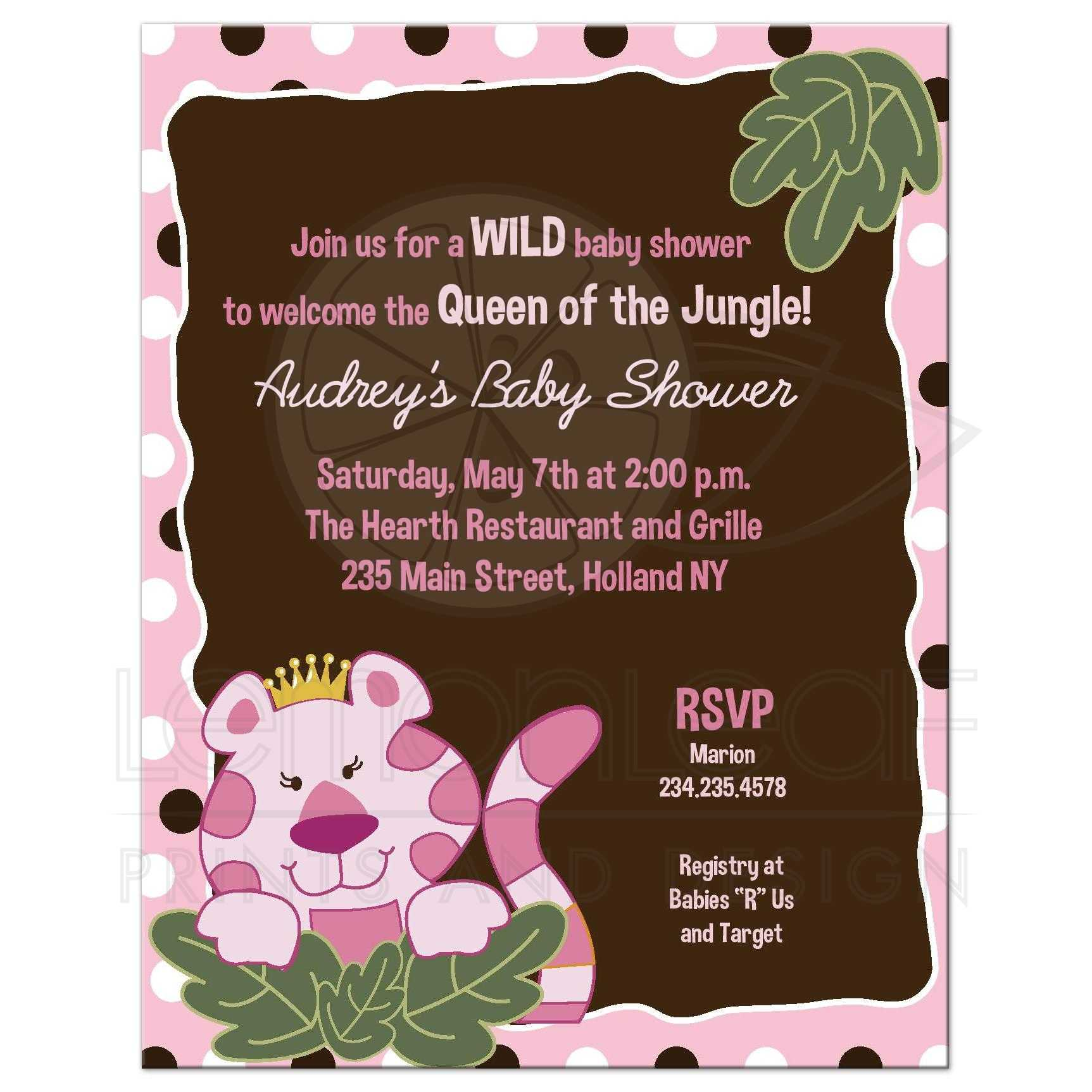 A2 Queen Of The Jungle Pink Polkadot Girl Safari Baby Shower Invitation