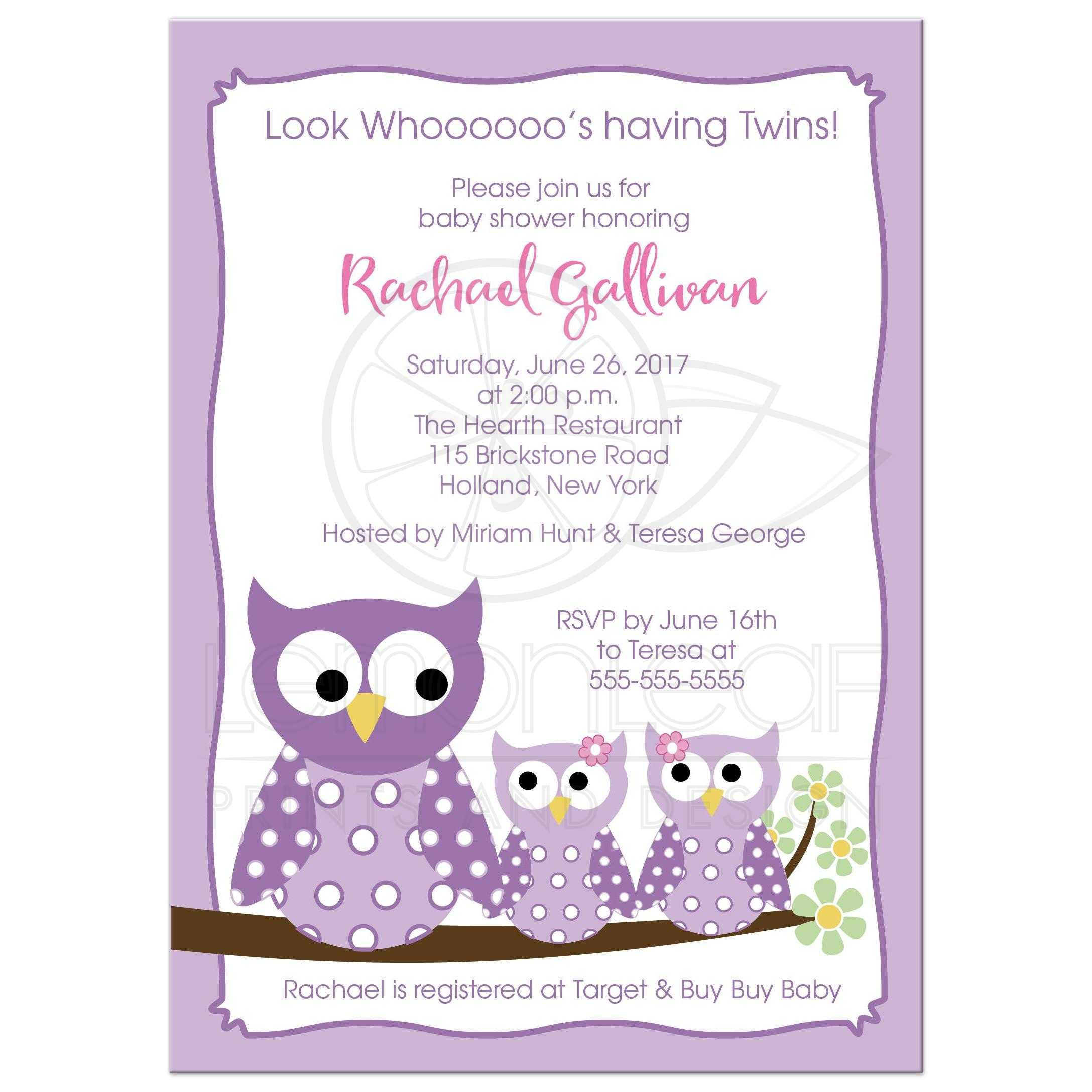 A7 Purple Hoot Owls Twin Girls Baby Shower Invitation
