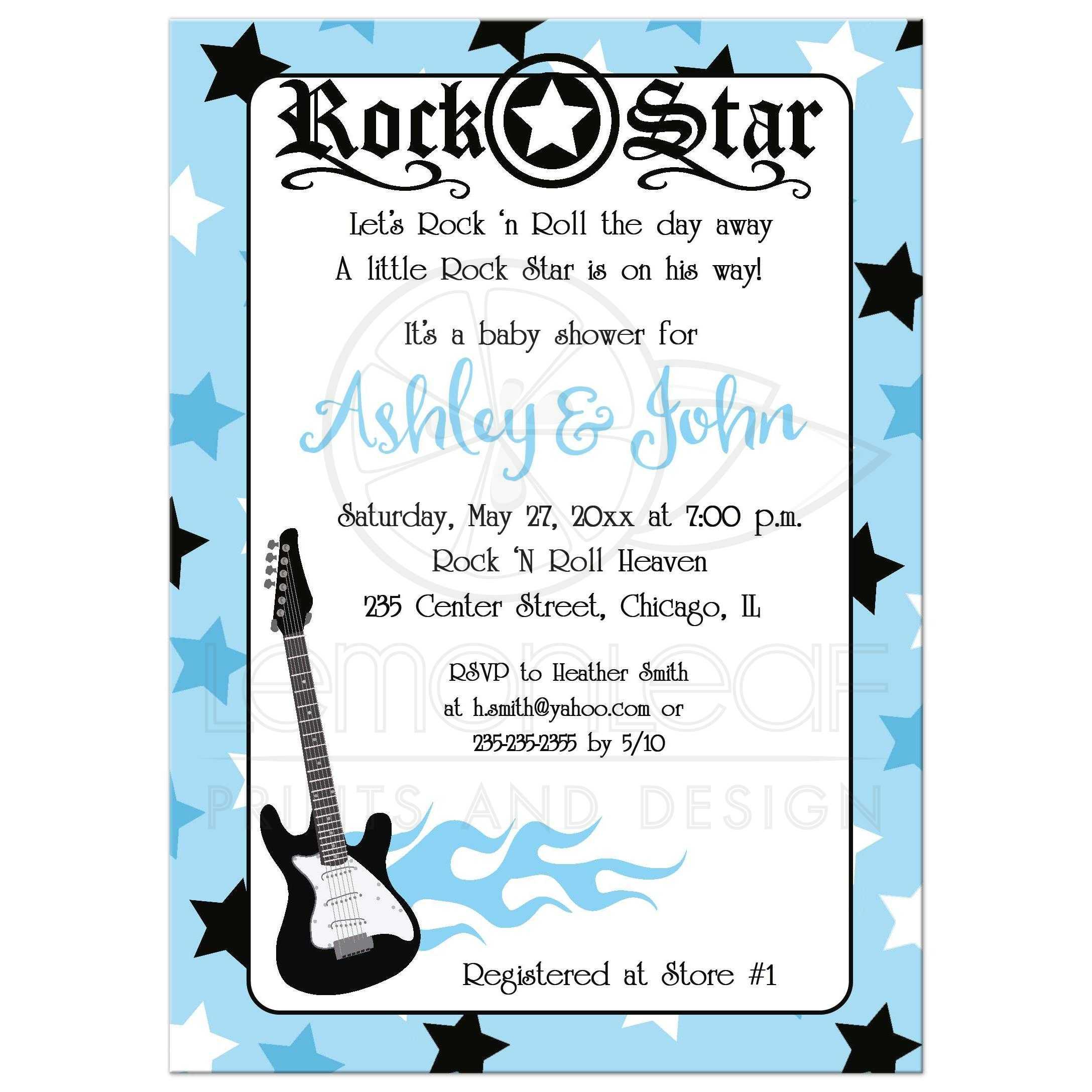A7 Blue Rock Star Guitar Rocker Baby Shower Invitation
