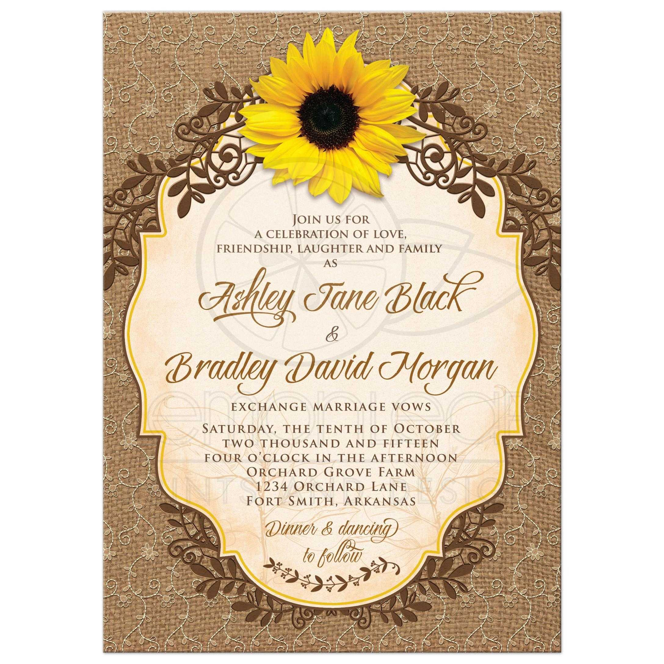Rustic Sunflower, Lace Floral And Burlap Wedding Invitation Front ...