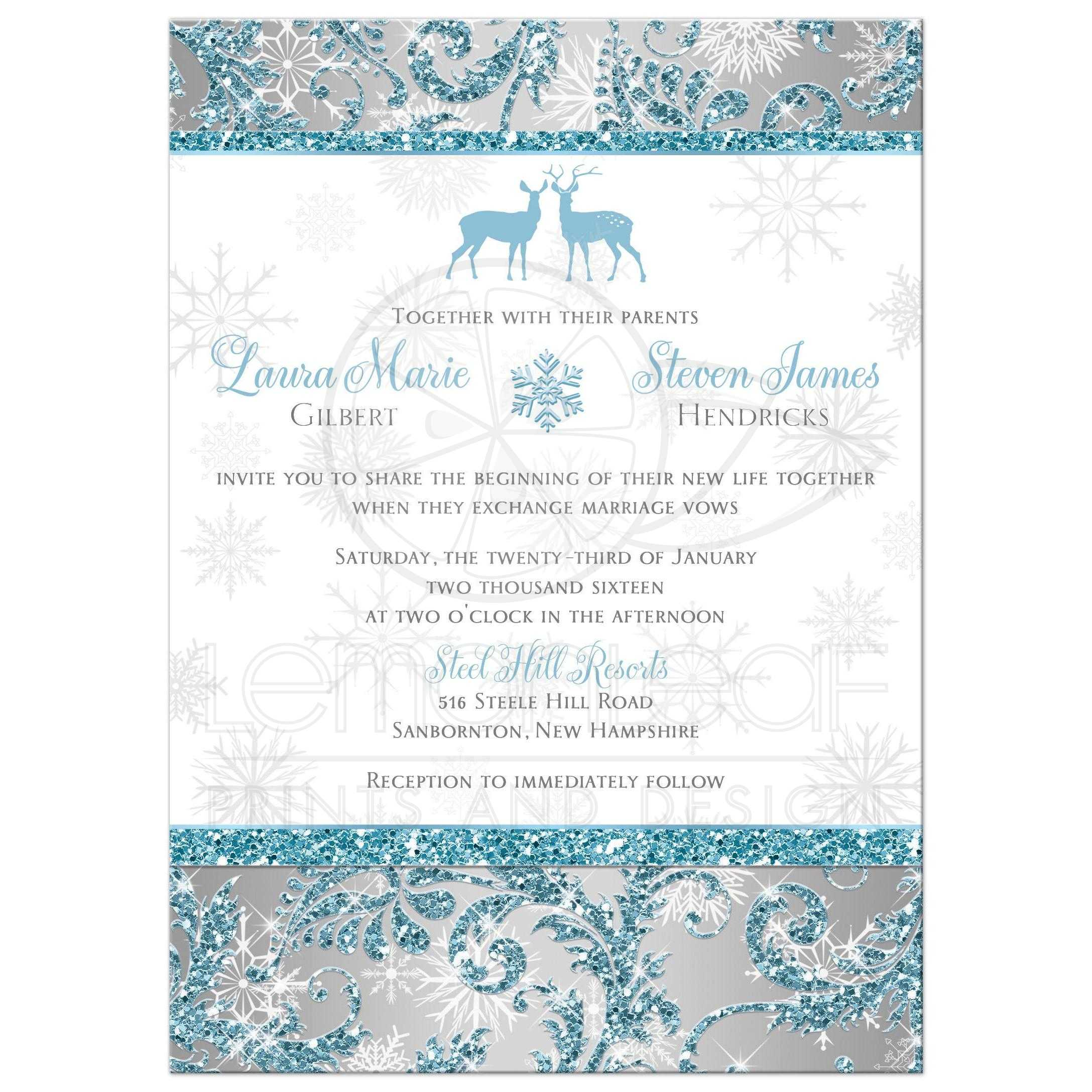 Silver And White Wedding Invitations: Winter Wonderland With Deer
