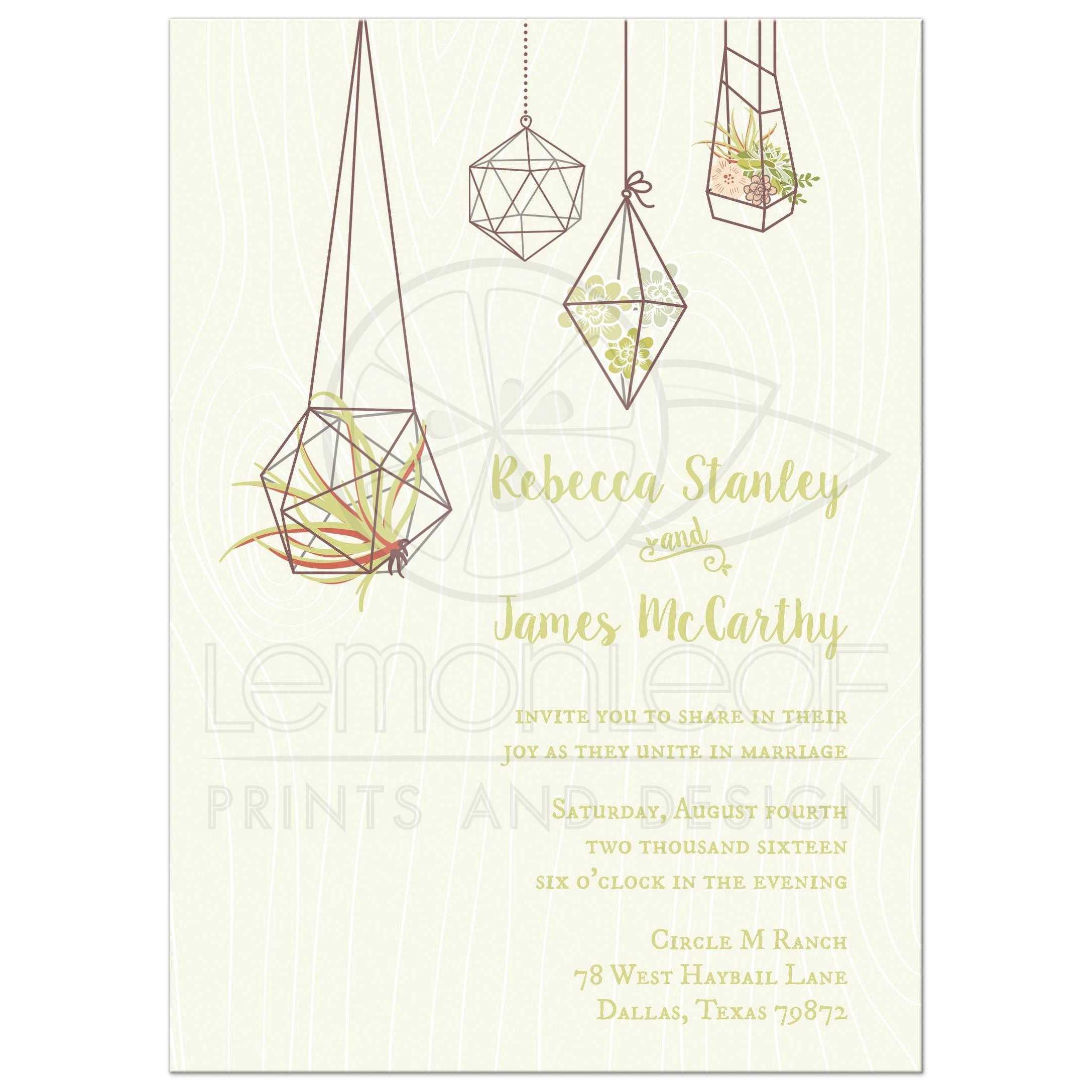 Wedding Invitation Hanging Air Plant and Succulents Terrariums