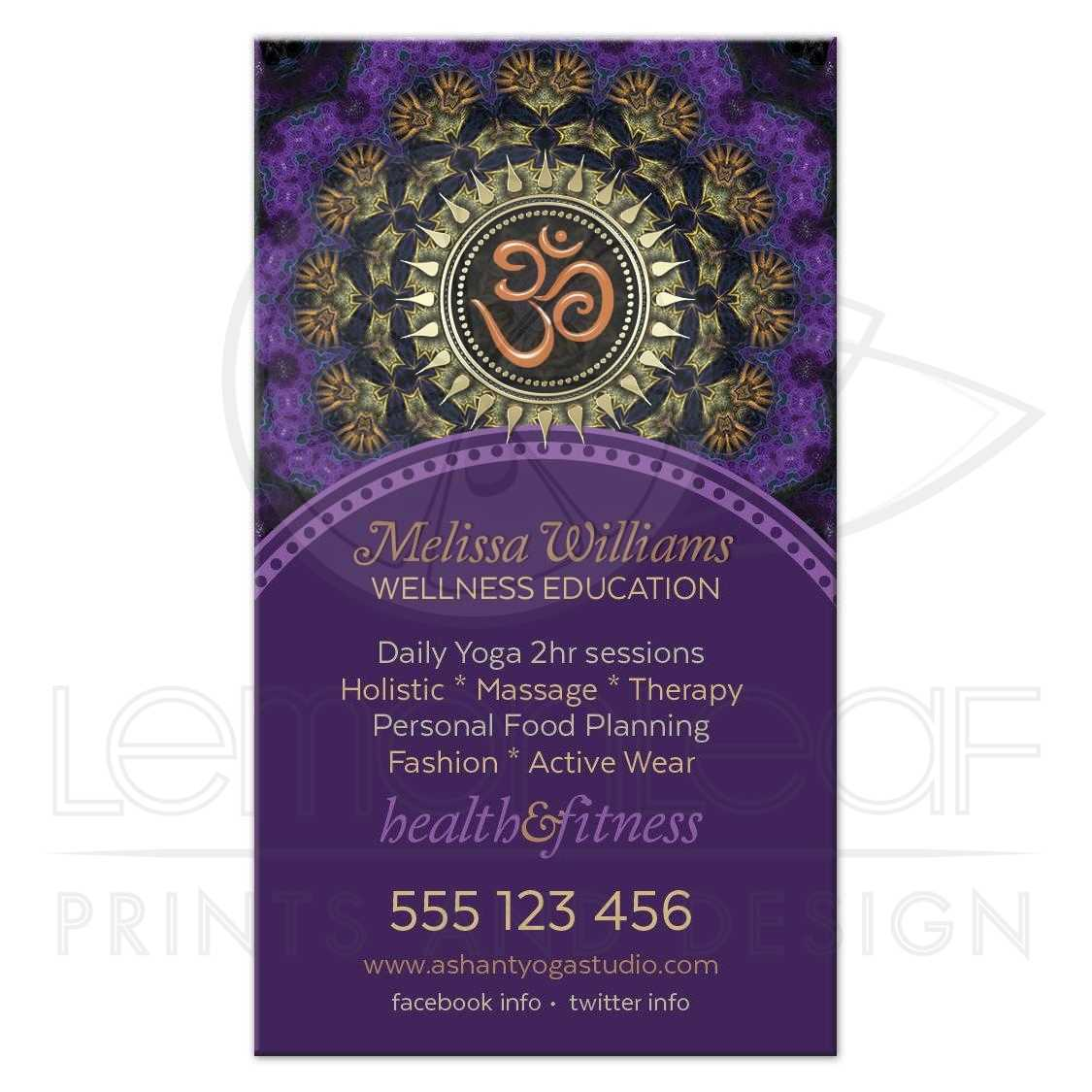 Om New Age Business Cards Purple Gold Fractals
